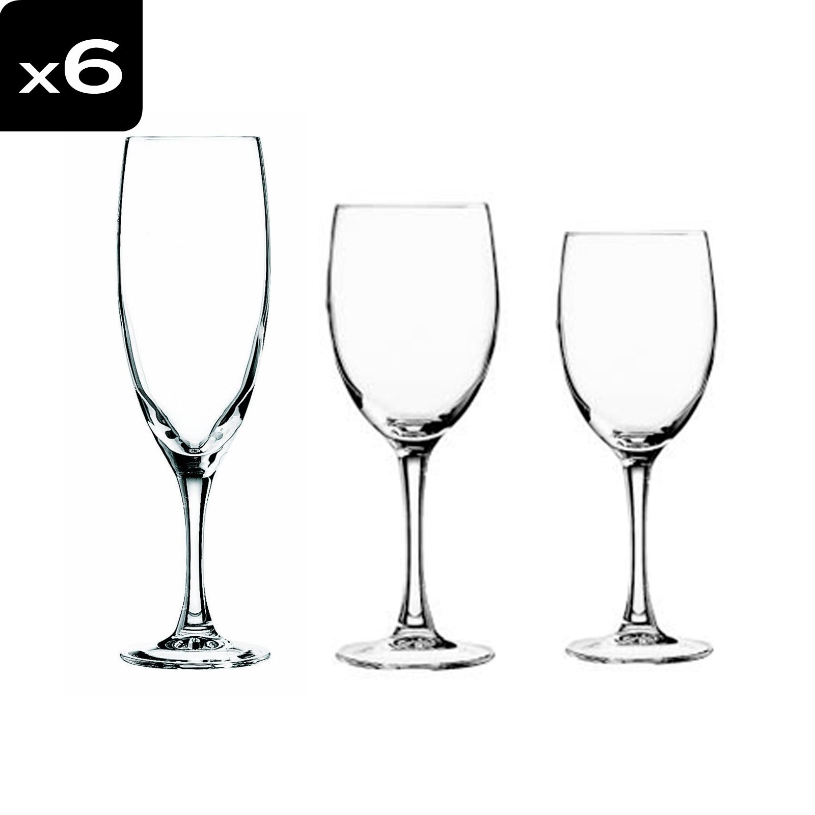 cristal d 39 arques vicomte service de 18 verres pied brandalley. Black Bedroom Furniture Sets. Home Design Ideas