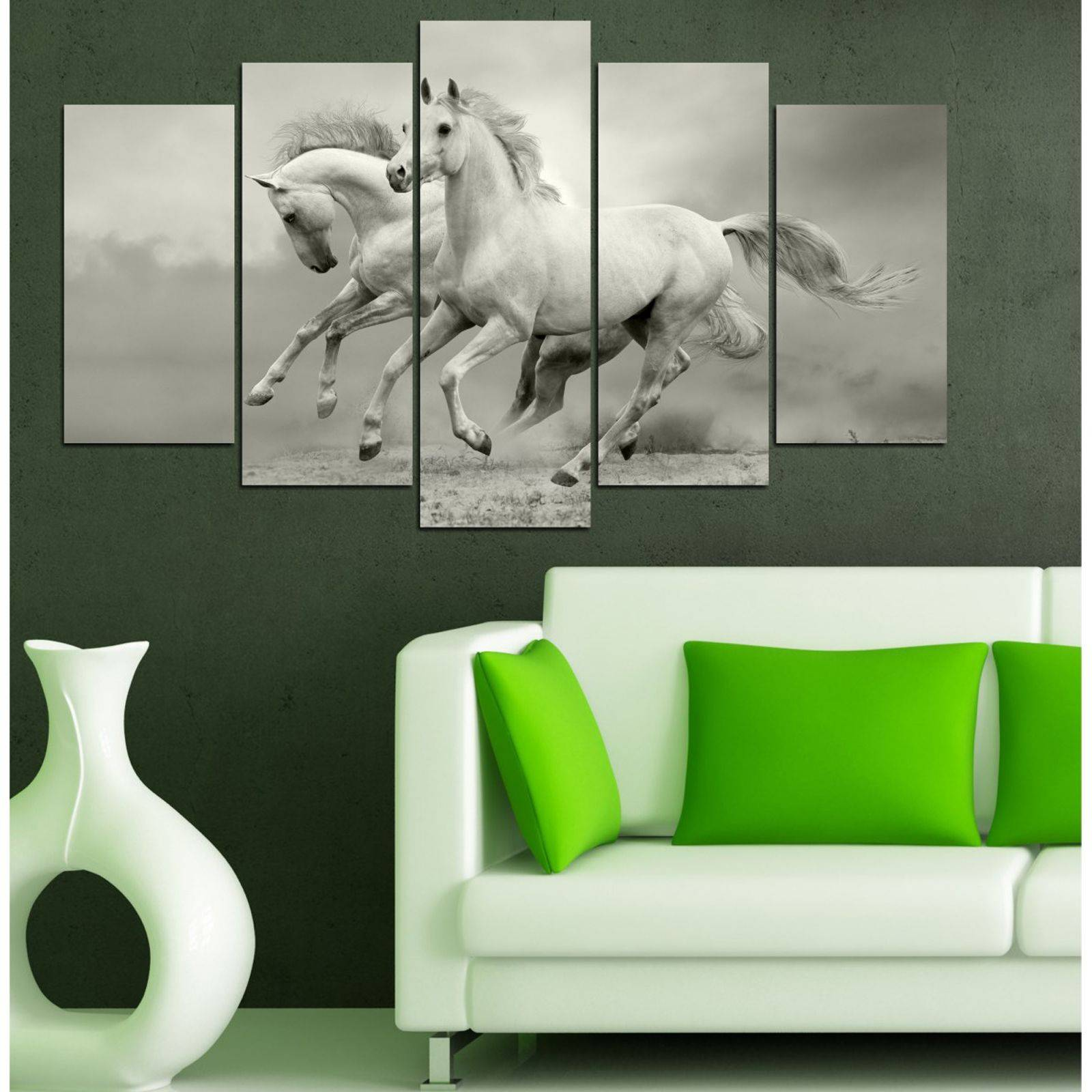 insigne chevaux au galop 5 teiliges bild hellgrau brandalley. Black Bedroom Furniture Sets. Home Design Ideas