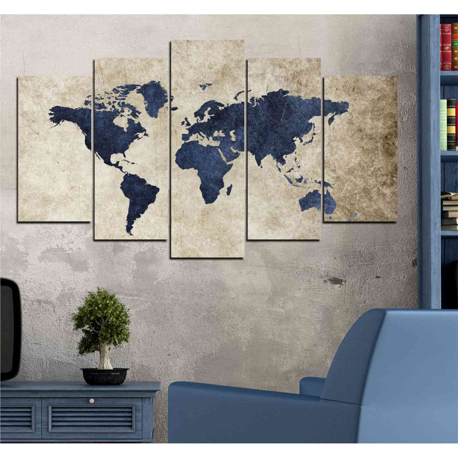 insigne carte du monde tableau 5 pi ces bleu d lav. Black Bedroom Furniture Sets. Home Design Ideas