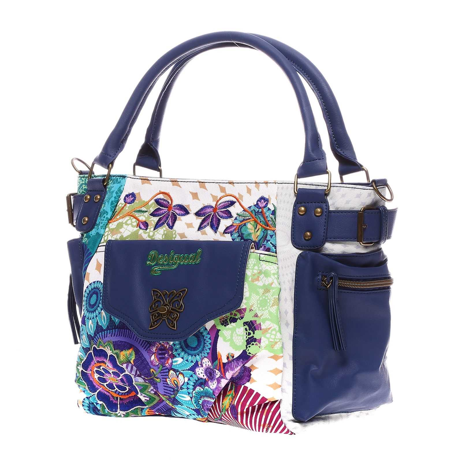 desigual mcbee floreada carry sac main bleu brandalley. Black Bedroom Furniture Sets. Home Design Ideas
