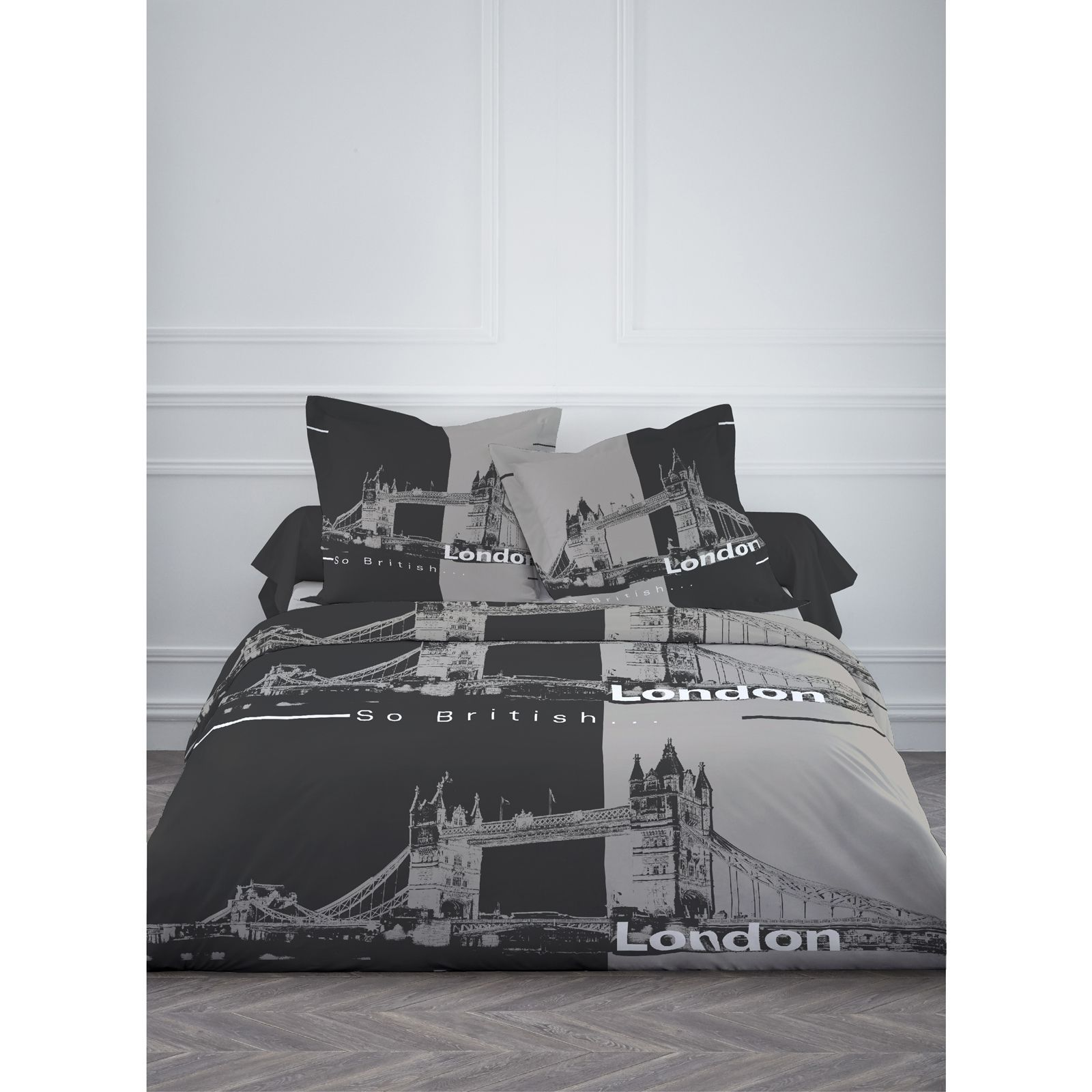 dune home tower bridge bettw sche 3 teilig grau brandalley. Black Bedroom Furniture Sets. Home Design Ideas