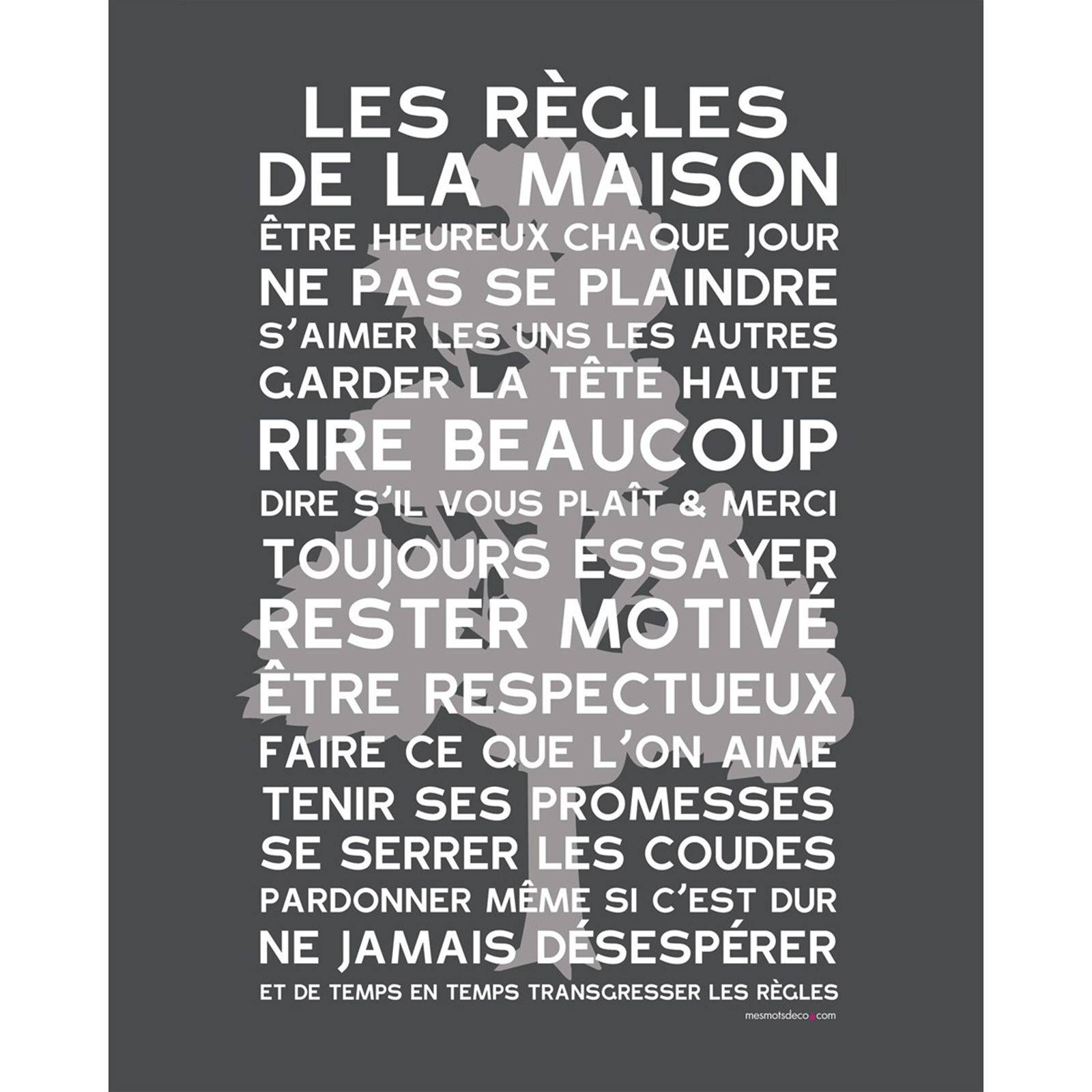 mes mots d co les r gles de la maison poster encadrer brandalley. Black Bedroom Furniture Sets. Home Design Ideas