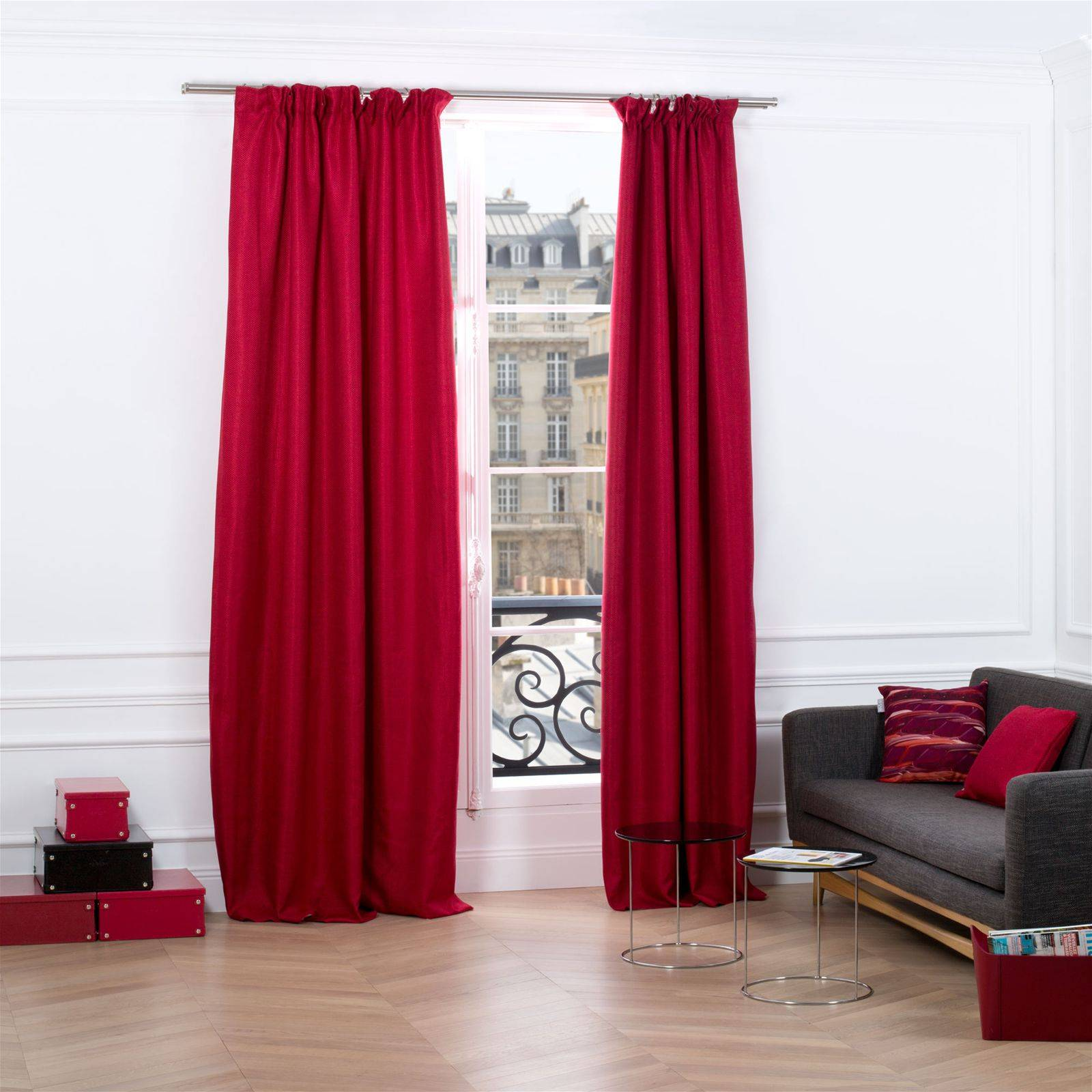 madura coconut rideau oeillets rouge brandalley. Black Bedroom Furniture Sets. Home Design Ideas