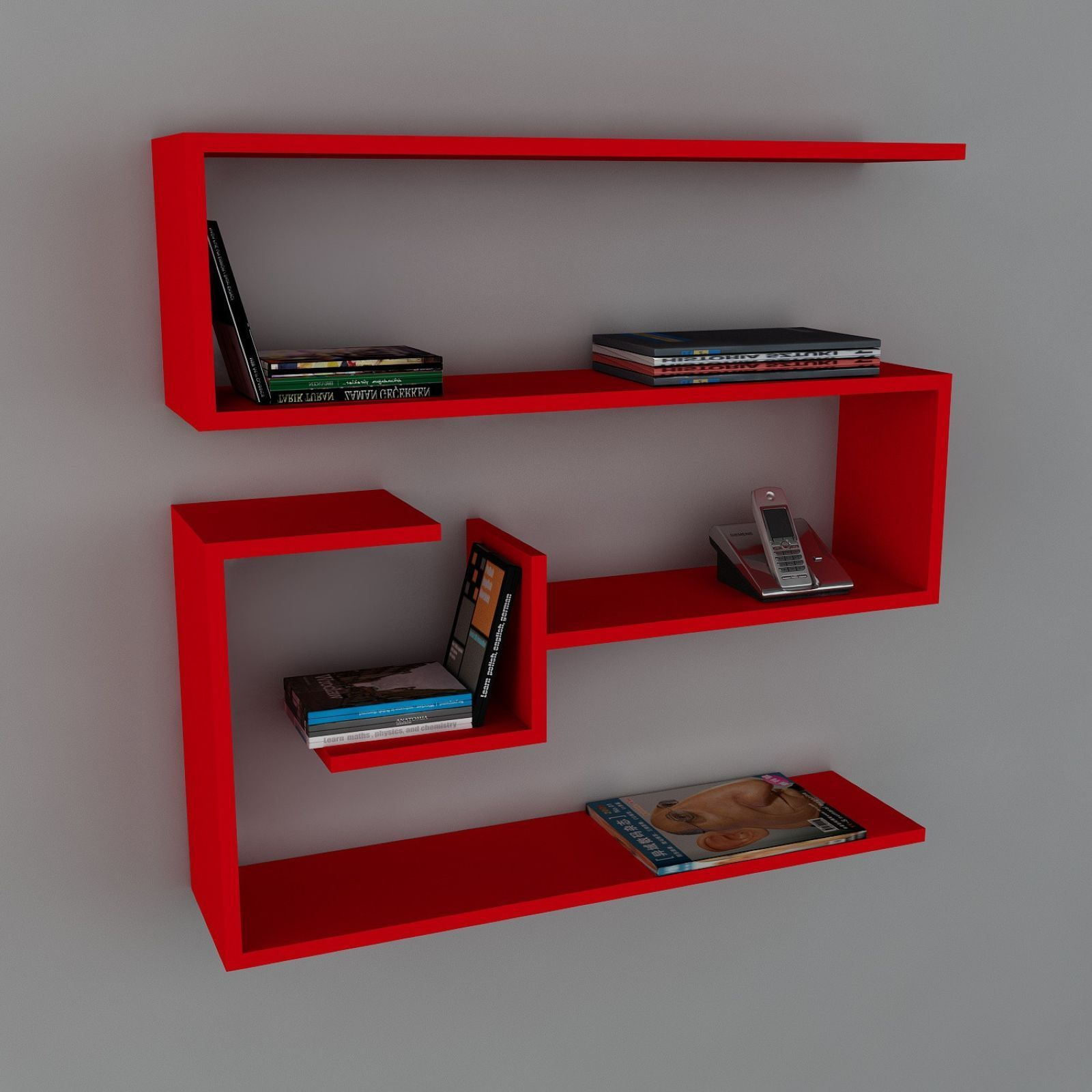 Wooden art tag re murale rouge brandalley - Etagere murale rouge ...