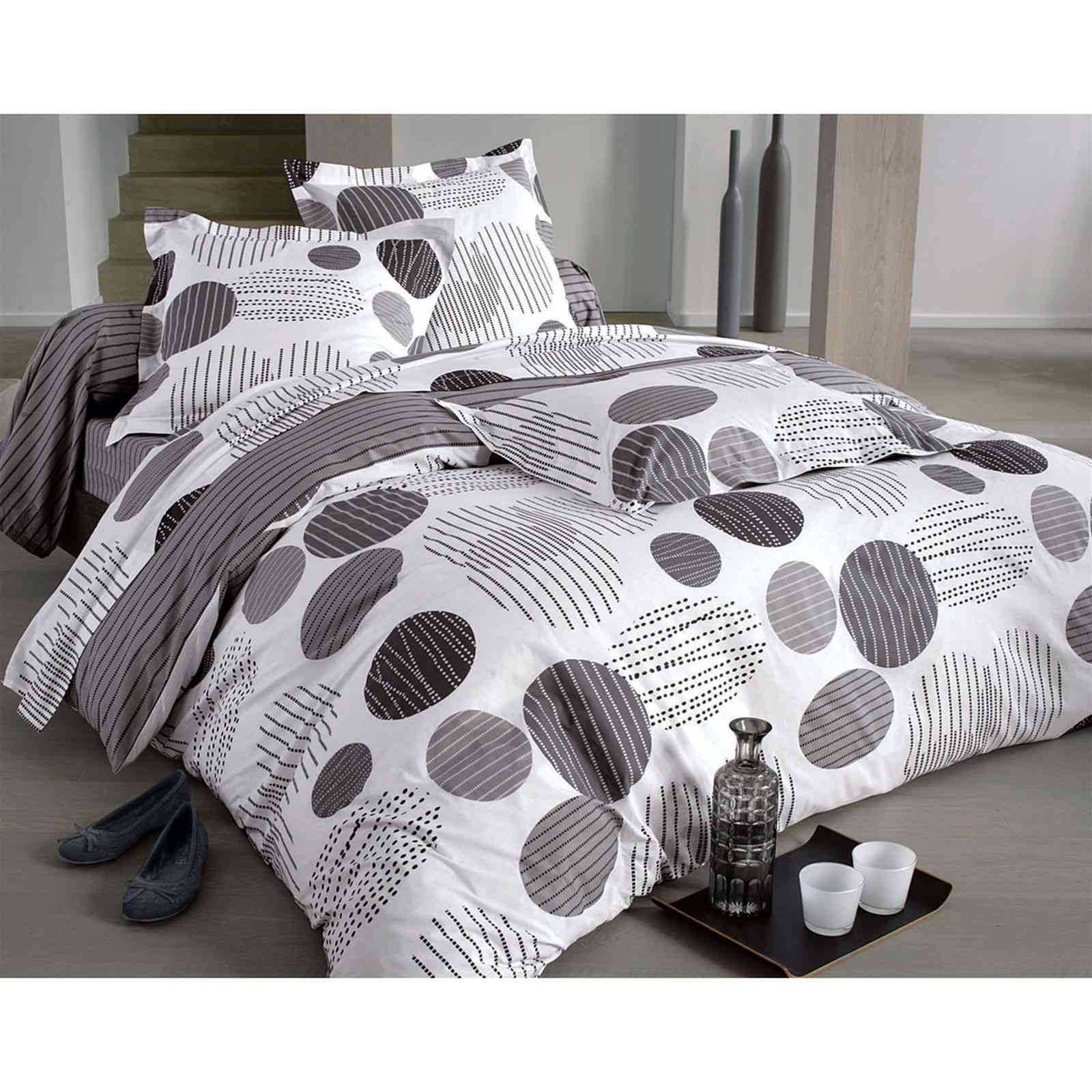 becquet housse de couette bulles et rayures gris brandalley. Black Bedroom Furniture Sets. Home Design Ideas