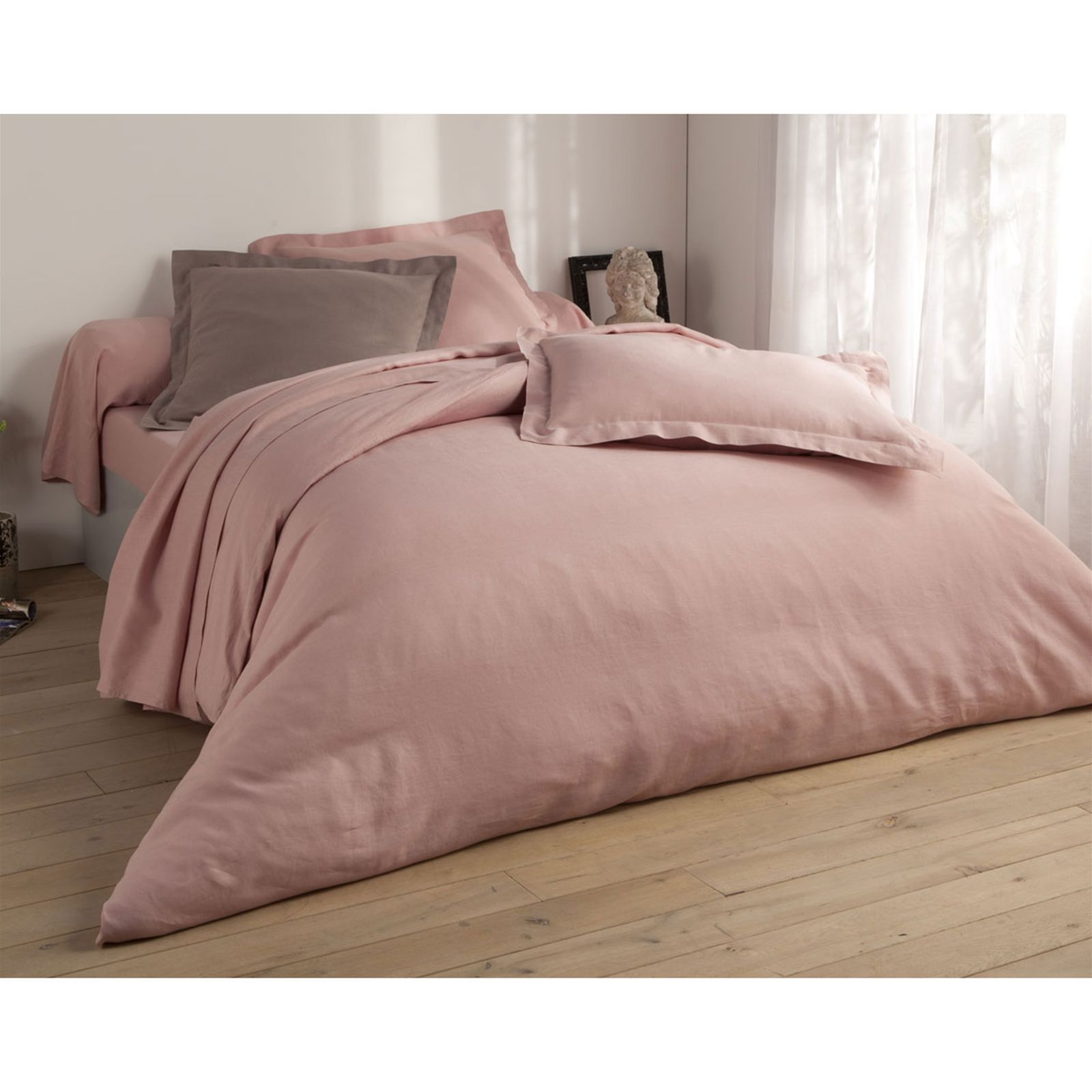 Becquet housse de couette en lin uni rose the brandalley for Housse de couette leopard rose