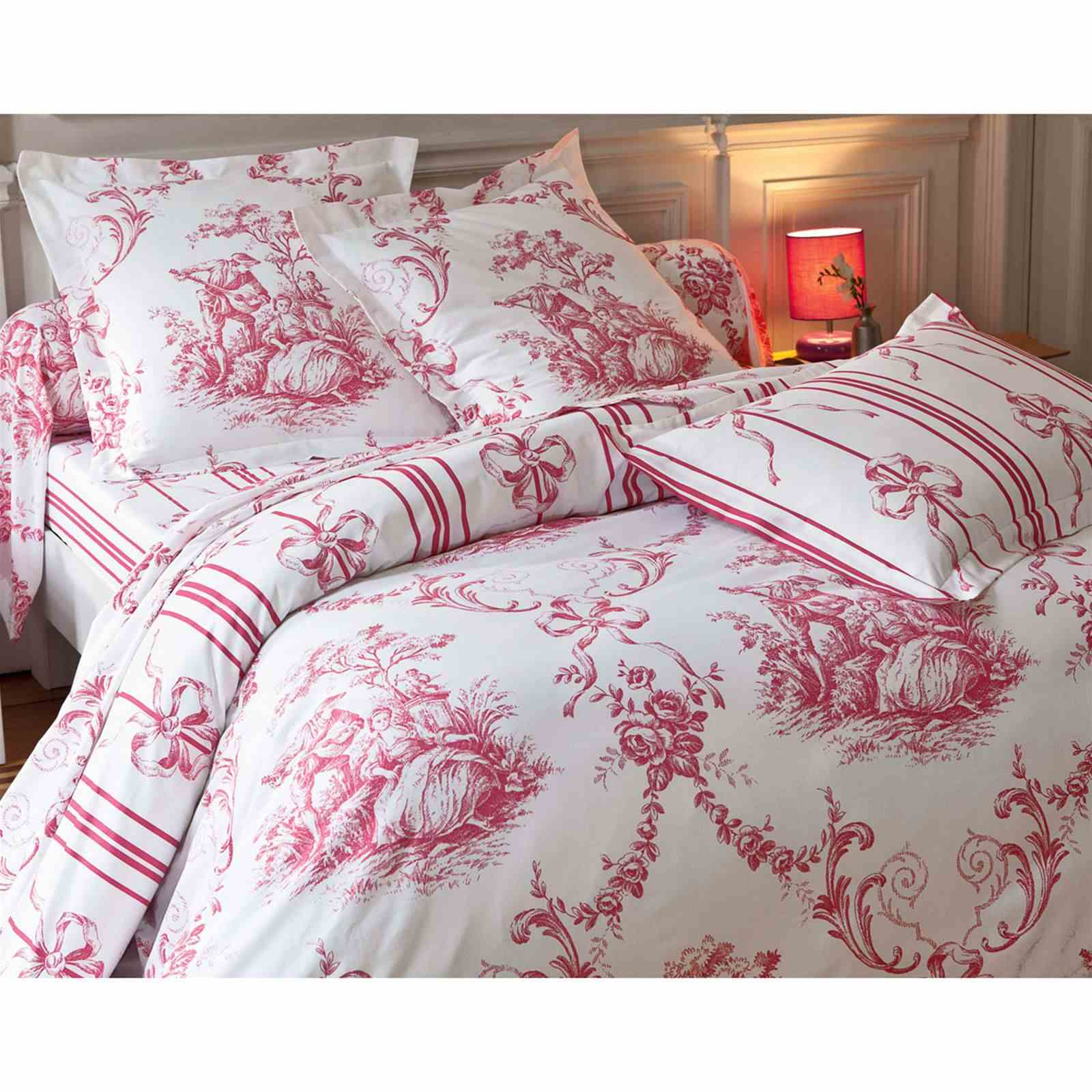 becquet housse de couette toile de jouy rose brandalley. Black Bedroom Furniture Sets. Home Design Ideas