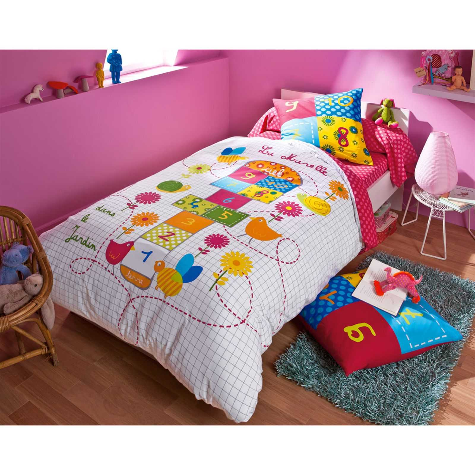 becquet housse de couette enfant marelle multicolore. Black Bedroom Furniture Sets. Home Design Ideas