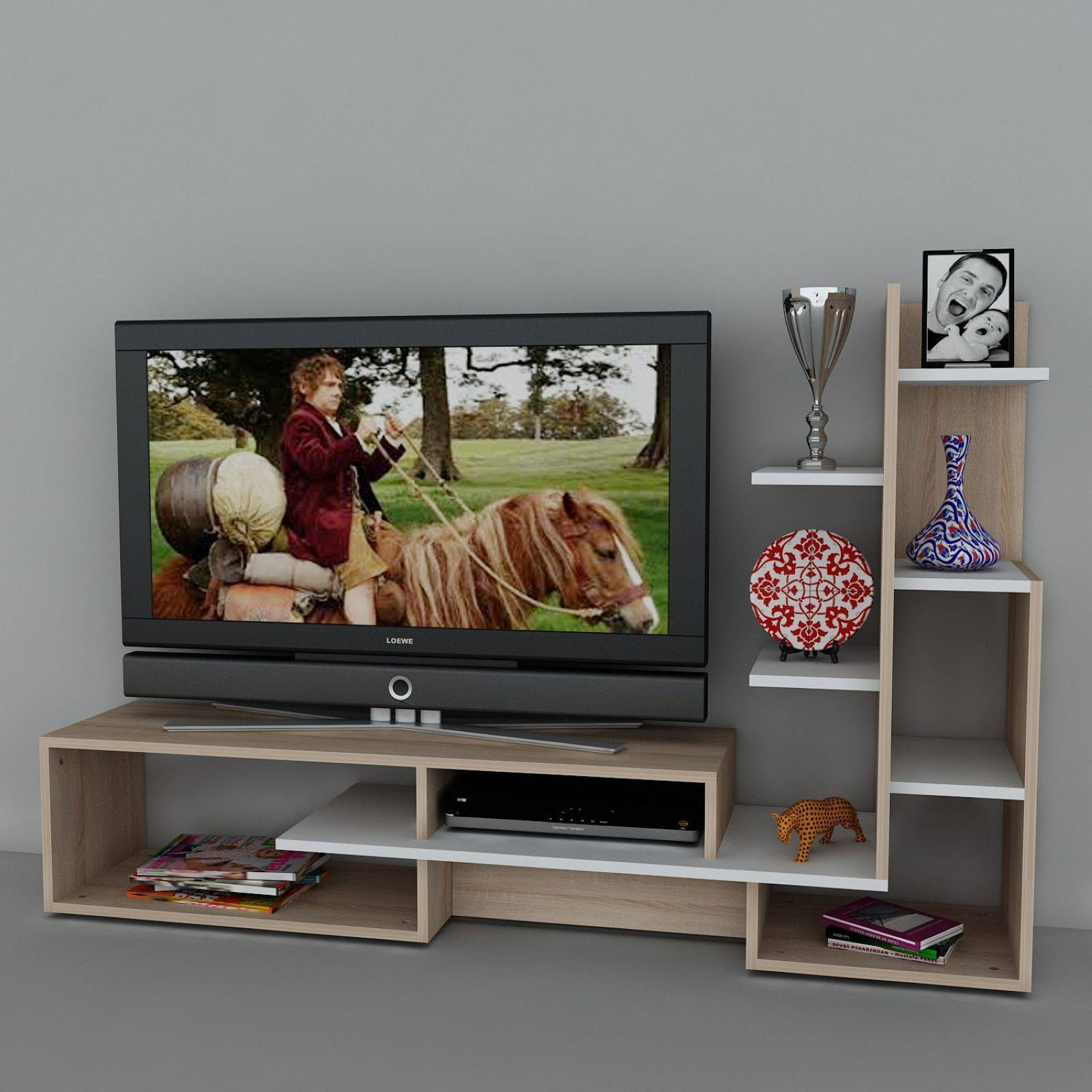 Wooden art meuble tv avec tag res bicolore brandalley for Meuble bureau avec etagere