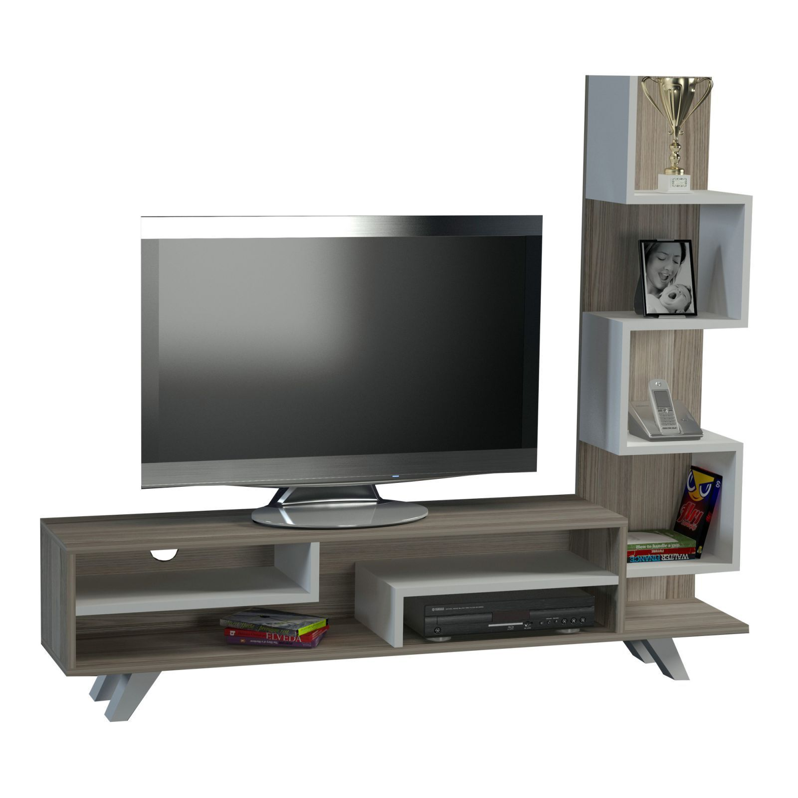 wooden art meuble tv avec tag res bicolore brandalley. Black Bedroom Furniture Sets. Home Design Ideas