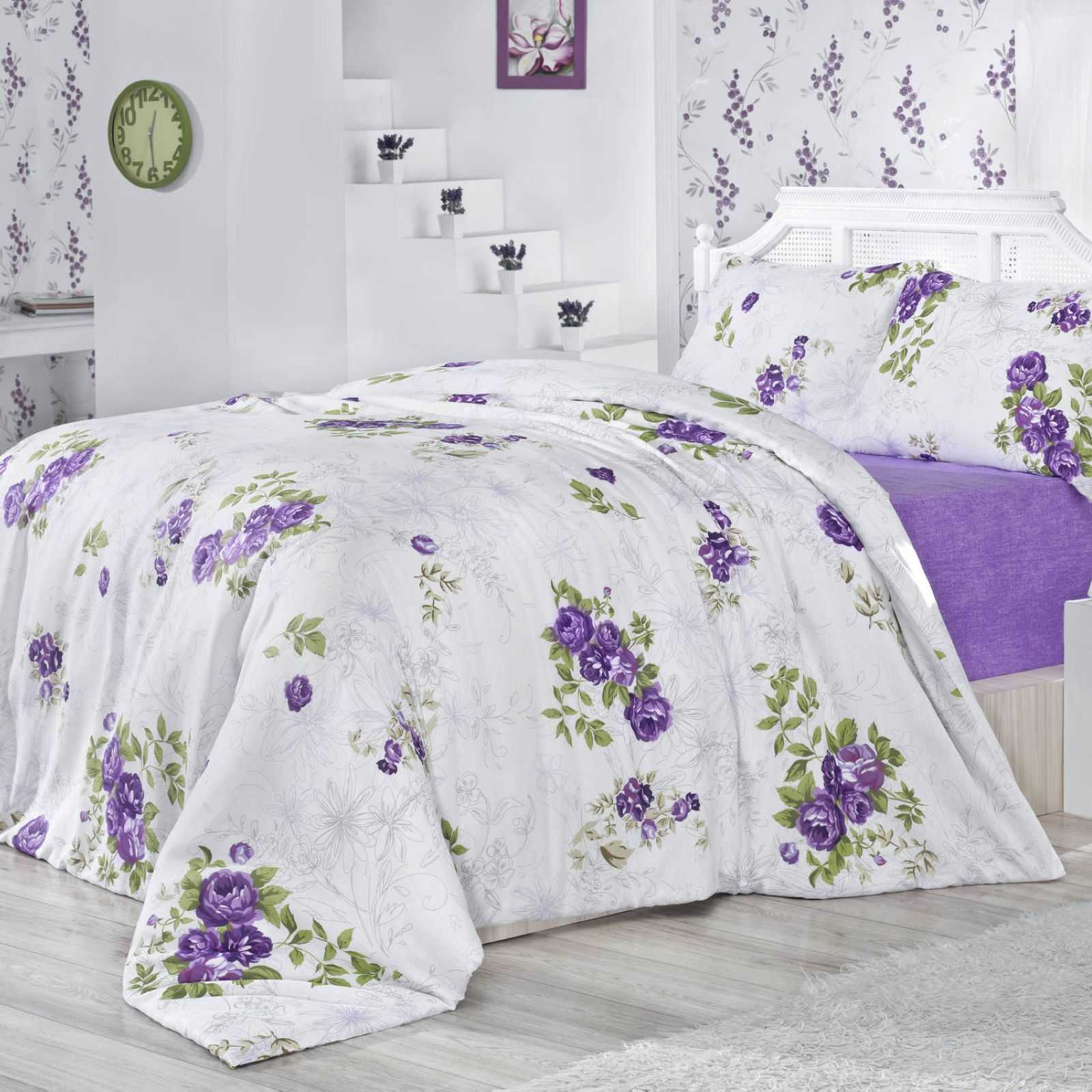 nazenin jelena parure de lit blanc lilas et vert brandalley. Black Bedroom Furniture Sets. Home Design Ideas