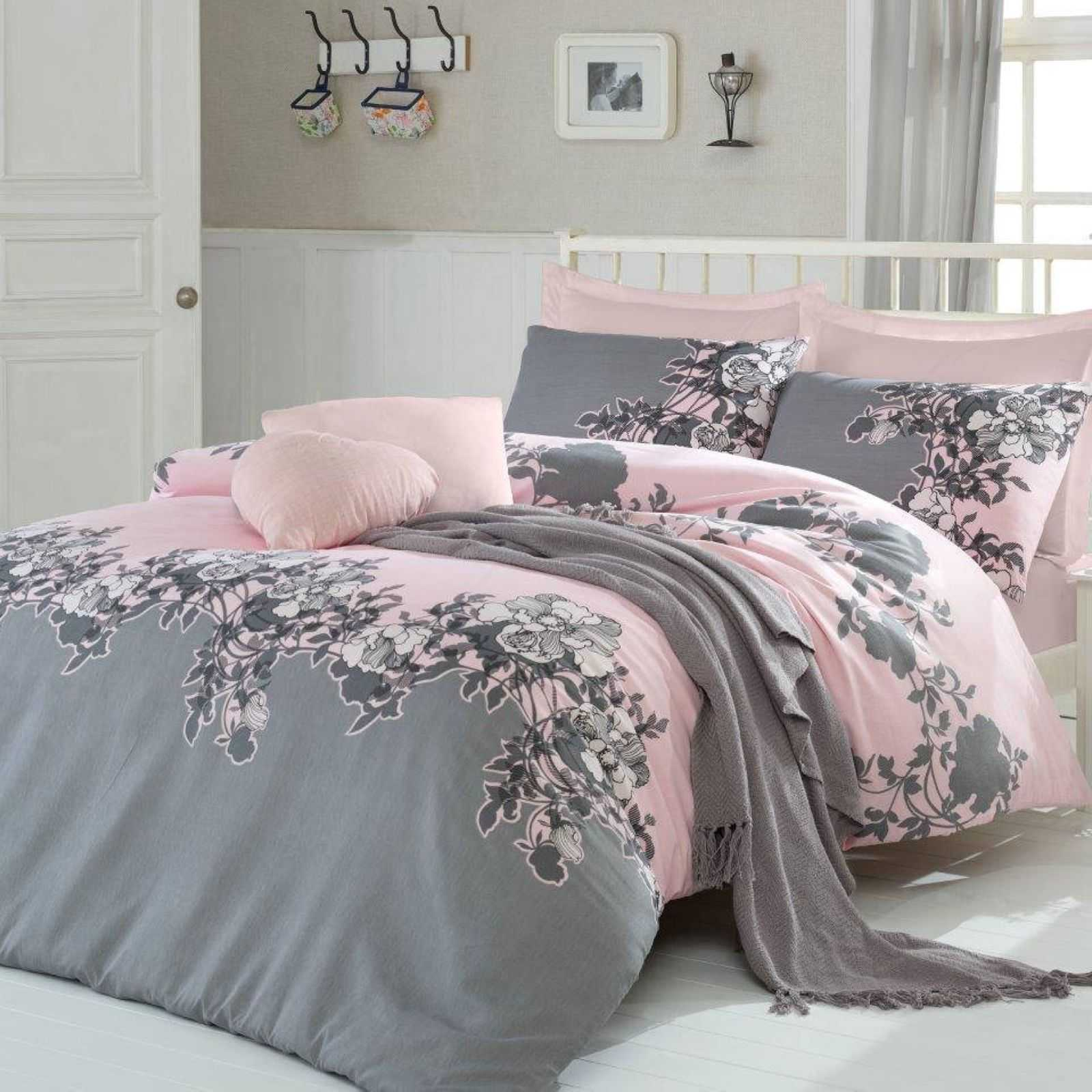 hobby rodez parure de lit gris rose brandalley. Black Bedroom Furniture Sets. Home Design Ideas