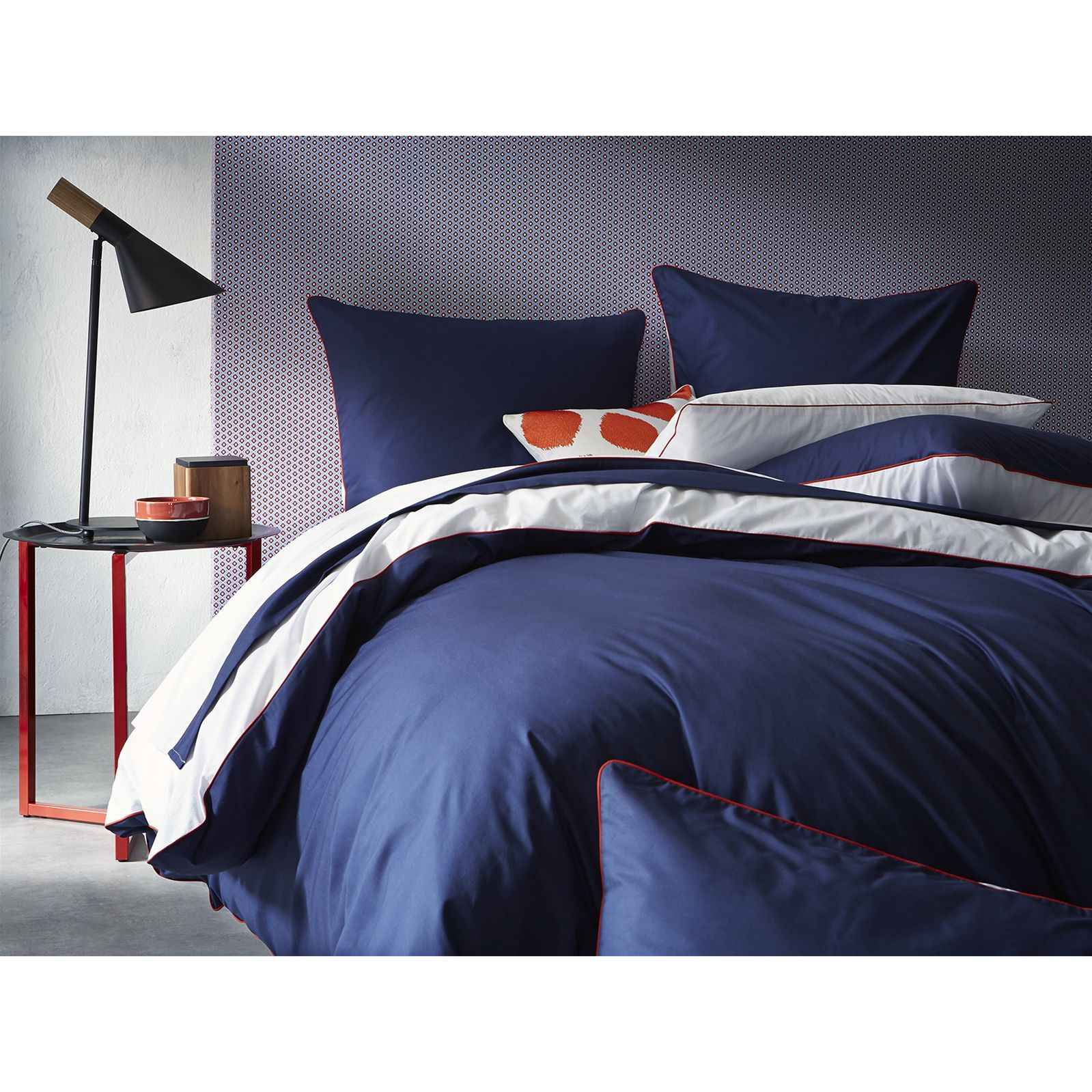 blanc cerise complicit gourmande housse de couette percale 80 fils cm bleu brandalley. Black Bedroom Furniture Sets. Home Design Ideas