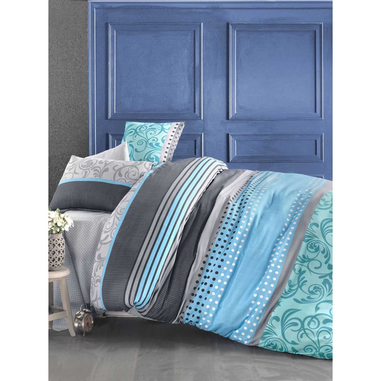 eponj home parure de lit bleu brandalley. Black Bedroom Furniture Sets. Home Design Ideas