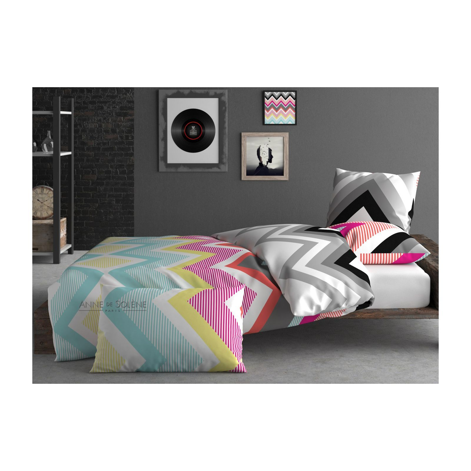 inspiration par anne de sol ne zigzag housse de couette multicolore brandalley. Black Bedroom Furniture Sets. Home Design Ideas