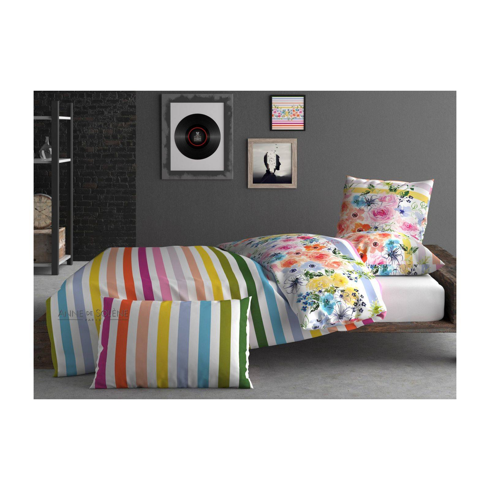 inspiration par anne de sol ne rainbow housse de couette multicolore brandalley. Black Bedroom Furniture Sets. Home Design Ideas