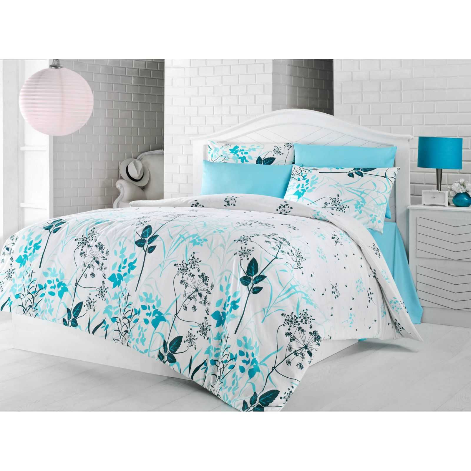 cotton box parure de lit turquoise brandalley. Black Bedroom Furniture Sets. Home Design Ideas