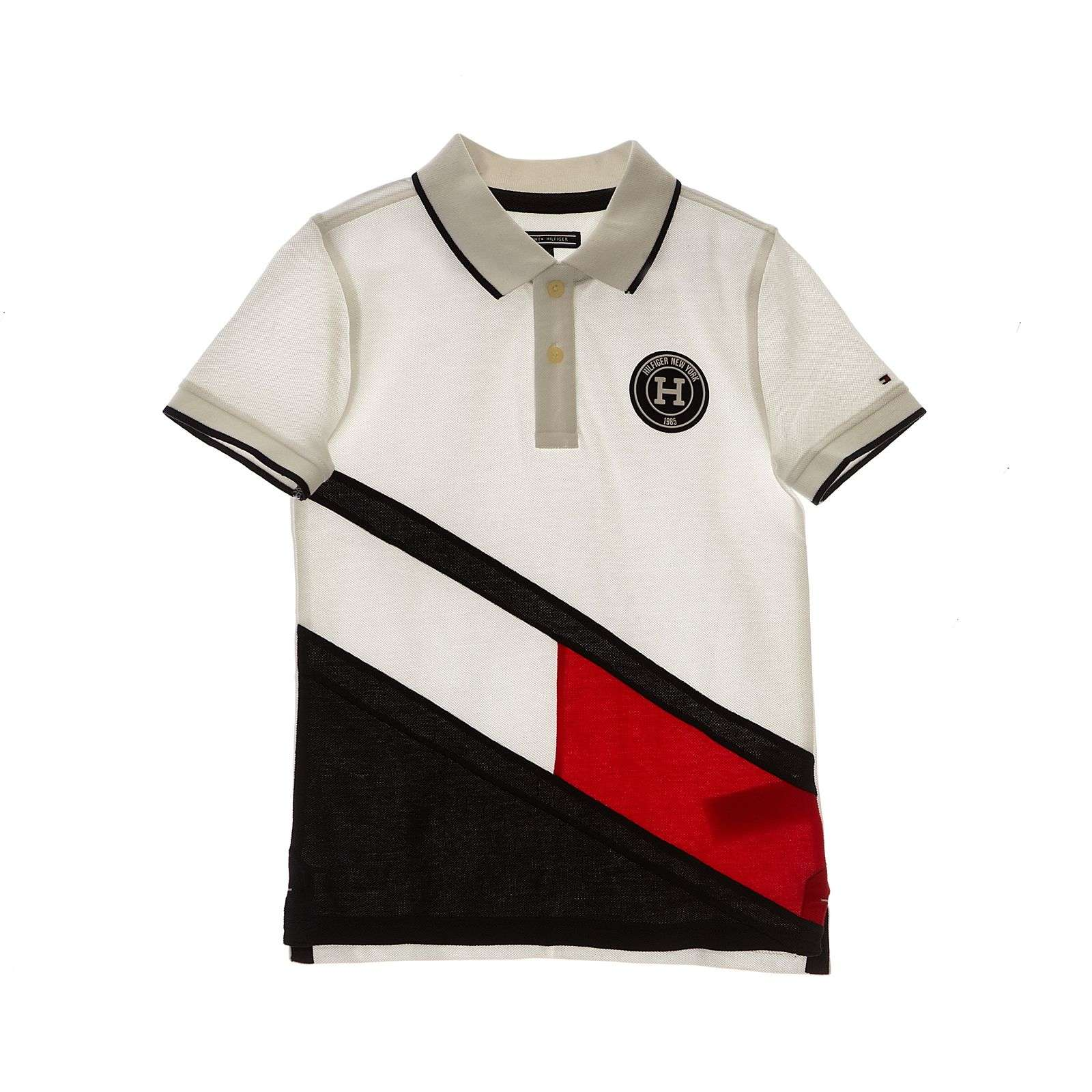 Tommy Hilfiger Colorblock Flag - Polo - blanc