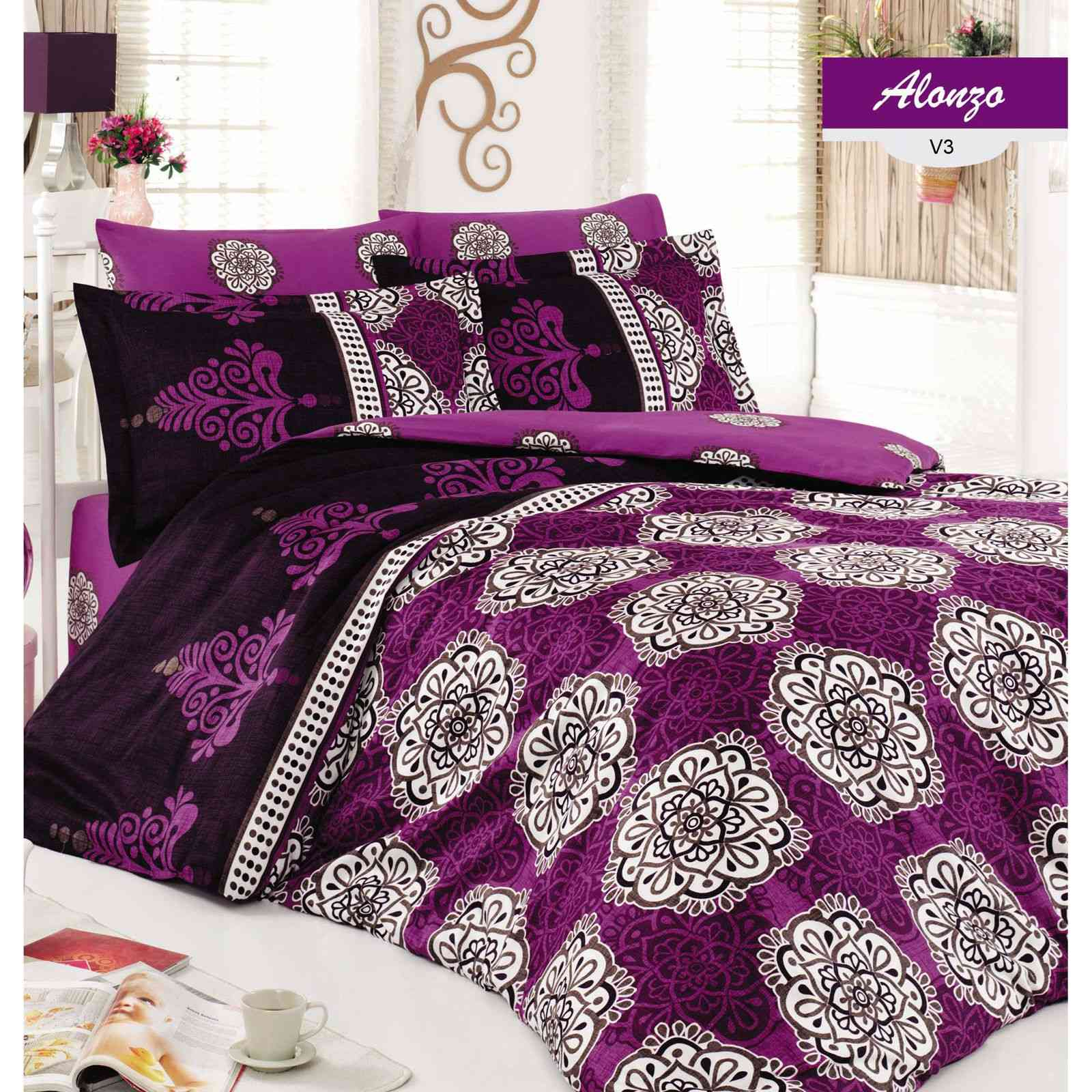 majoli parure de lit violet brandalley. Black Bedroom Furniture Sets. Home Design Ideas