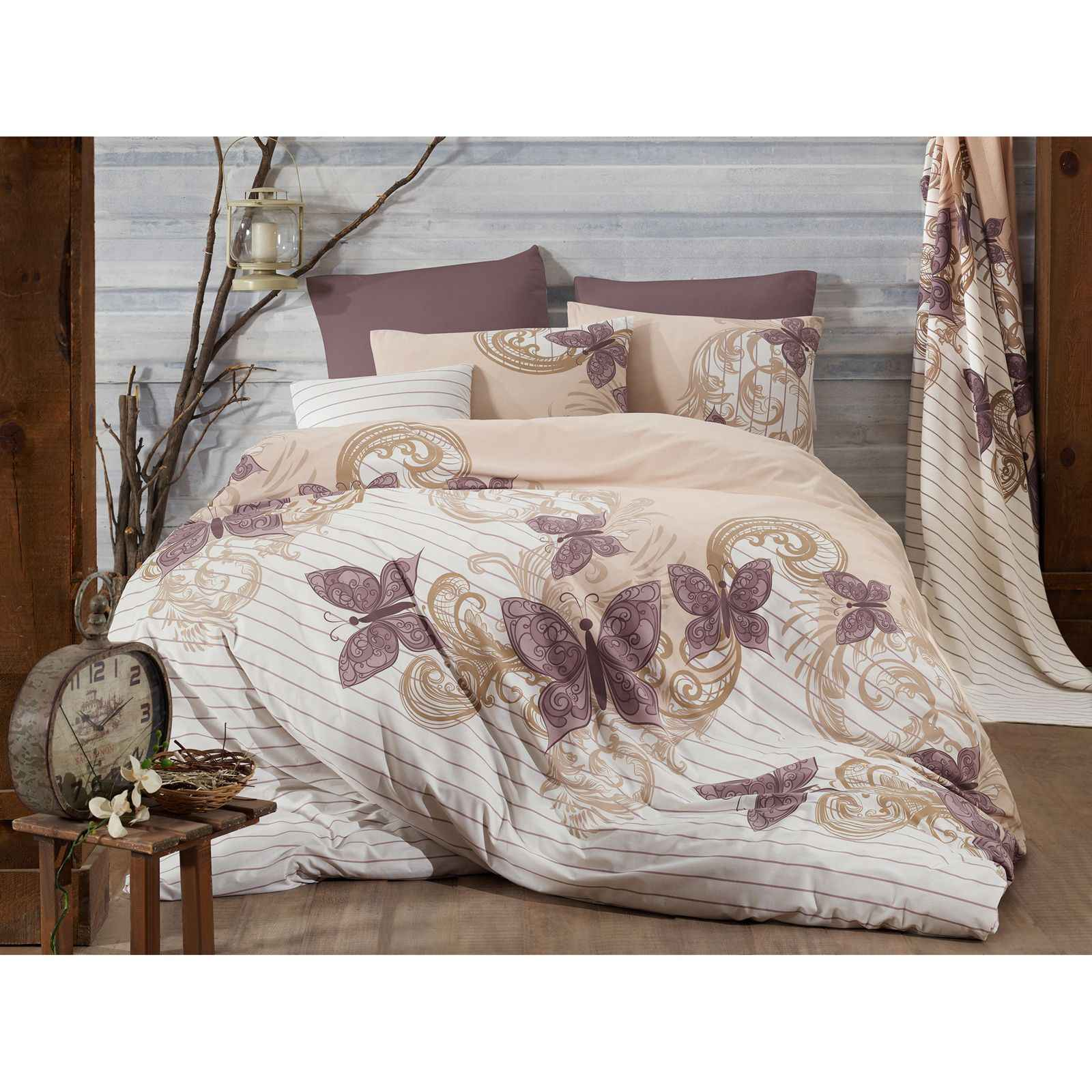 home sweet home parure de lit mauve brandalley. Black Bedroom Furniture Sets. Home Design Ideas