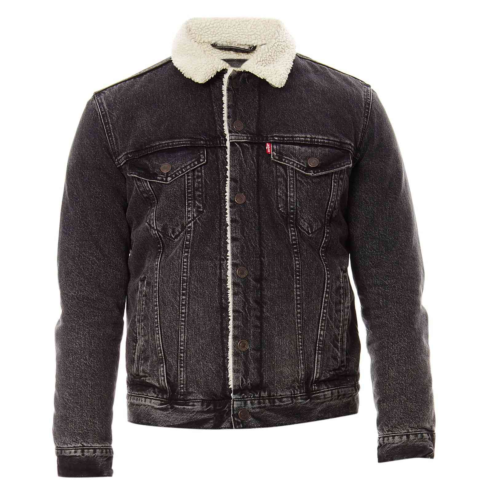 levi 39 s sherpa trucker veste en jean noir brandalley. Black Bedroom Furniture Sets. Home Design Ideas