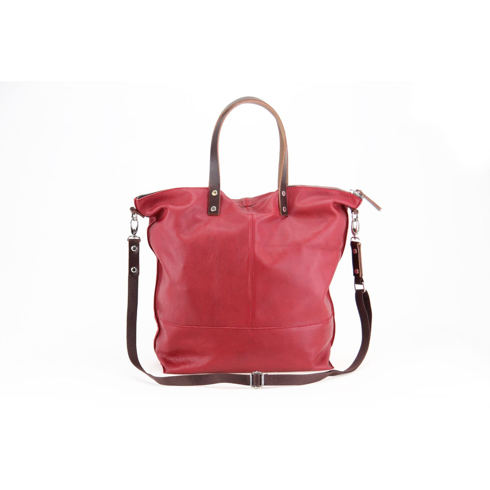Sac Paquetage Rouge Cuir Aromatic En Cabas PPw75rq