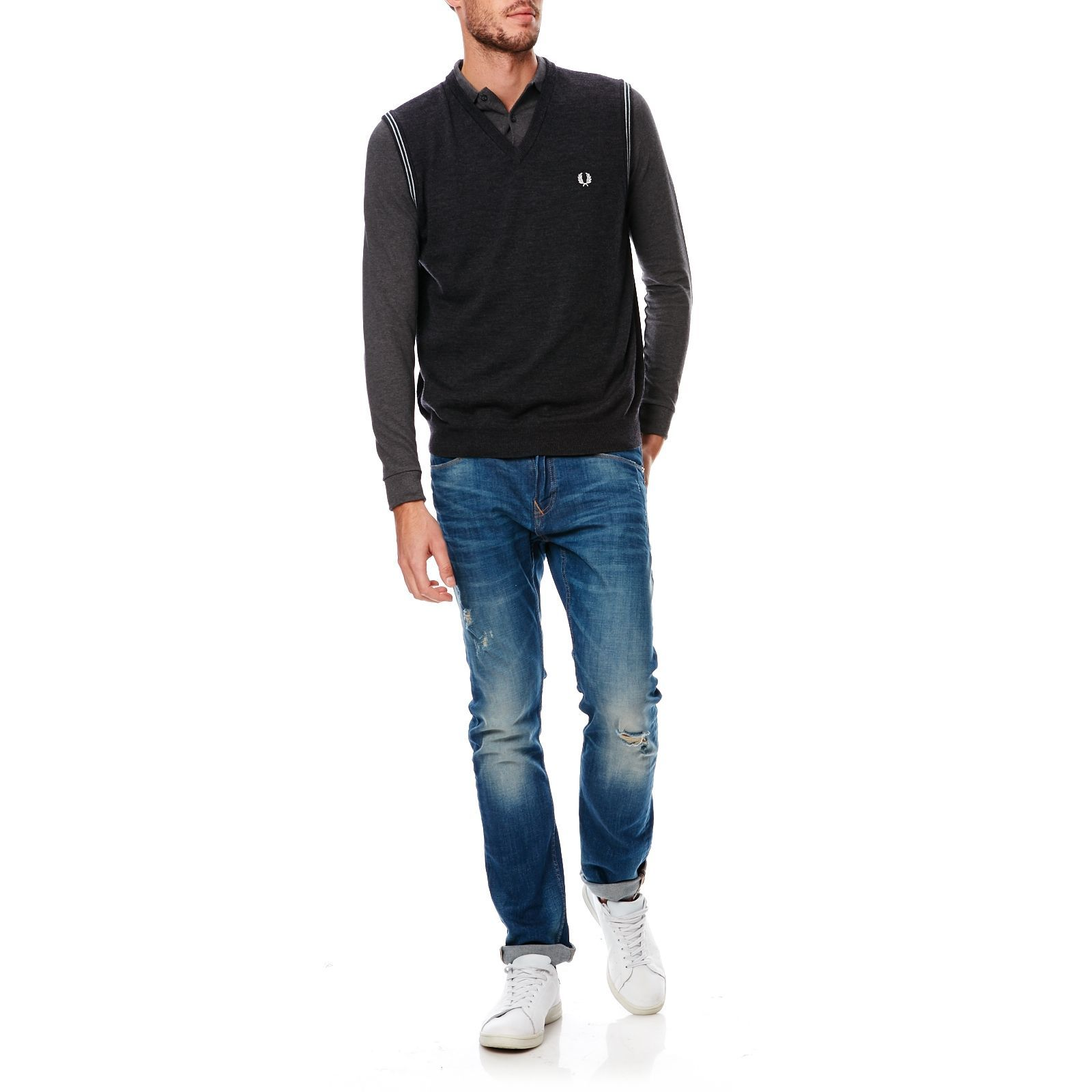 Fred Brandalley Manches Perry Pull Sans Anthracite Laine En 8g8xHawr