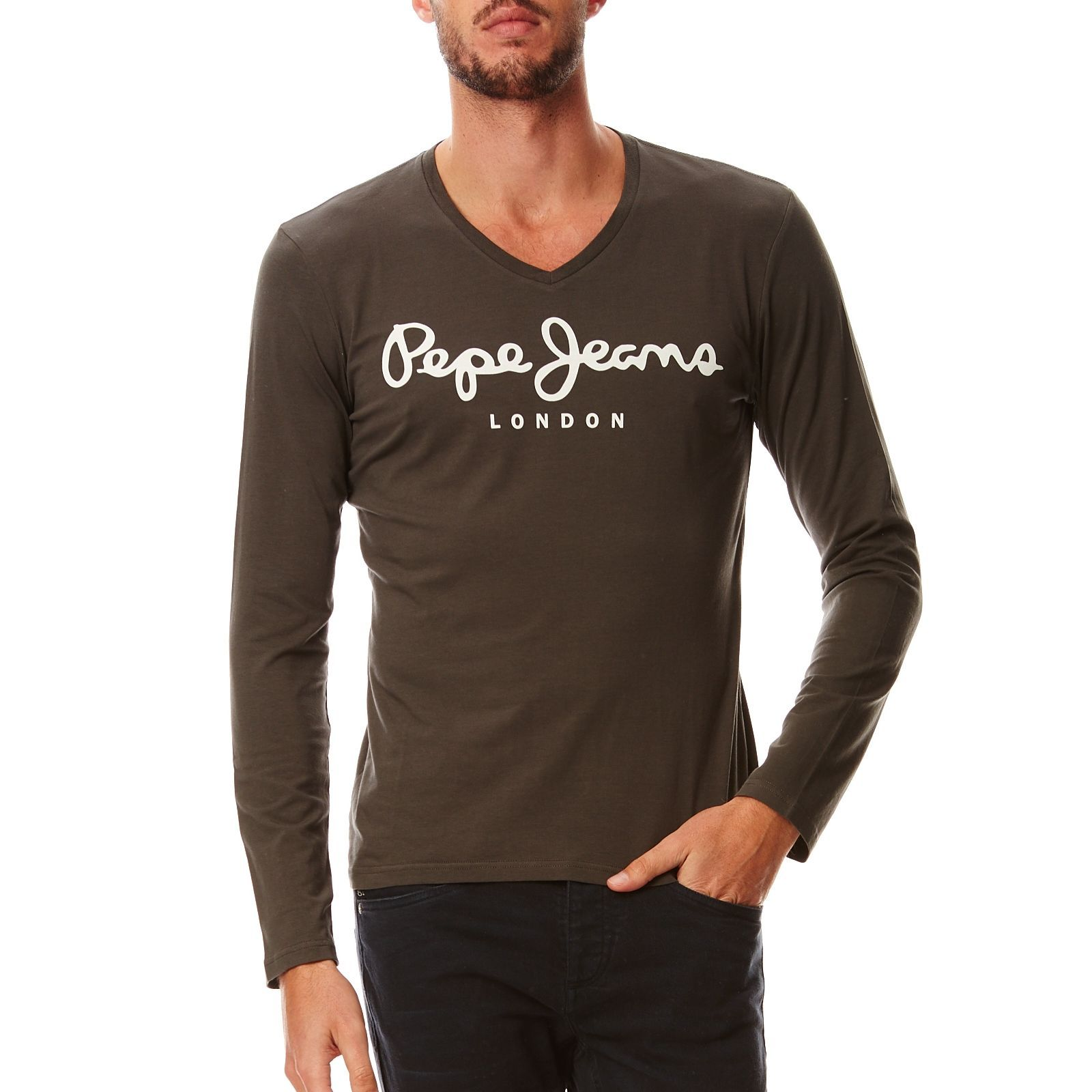 Pepe Jeans London Original stretch V long - T-shirt - marron