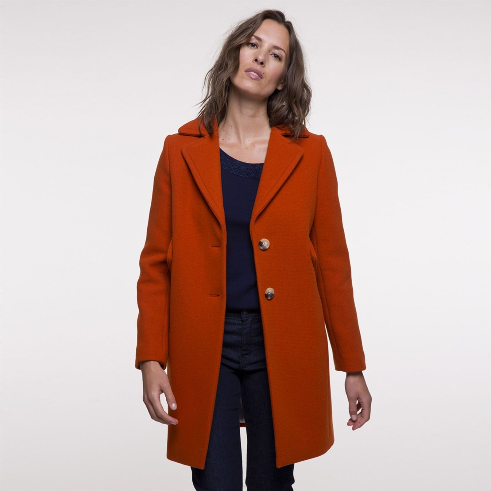 Trench and coat Manteau mi-long en laine - orange   BrandAlley 3212c66e6e14