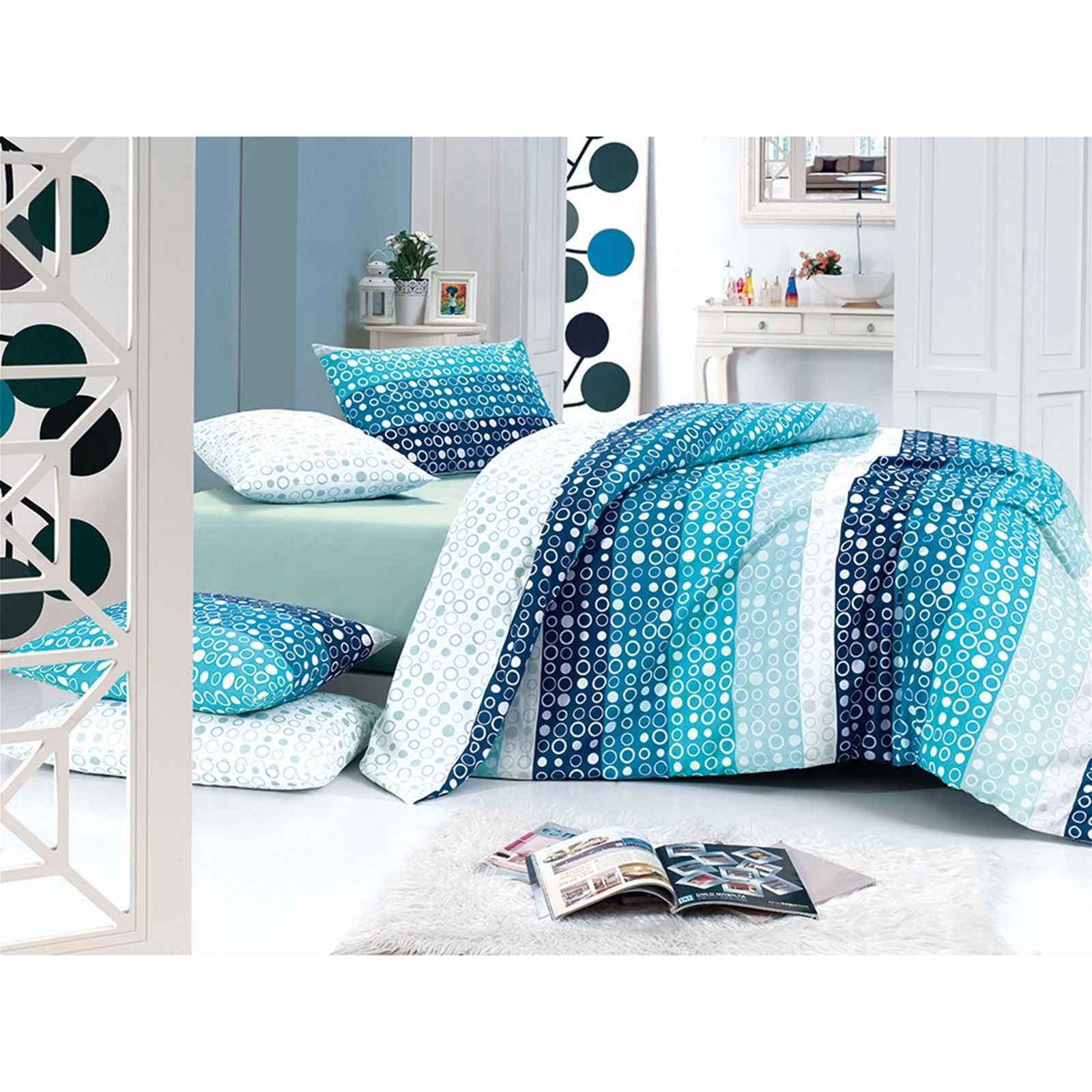 majoli parure de lit turquoise brandalley. Black Bedroom Furniture Sets. Home Design Ideas