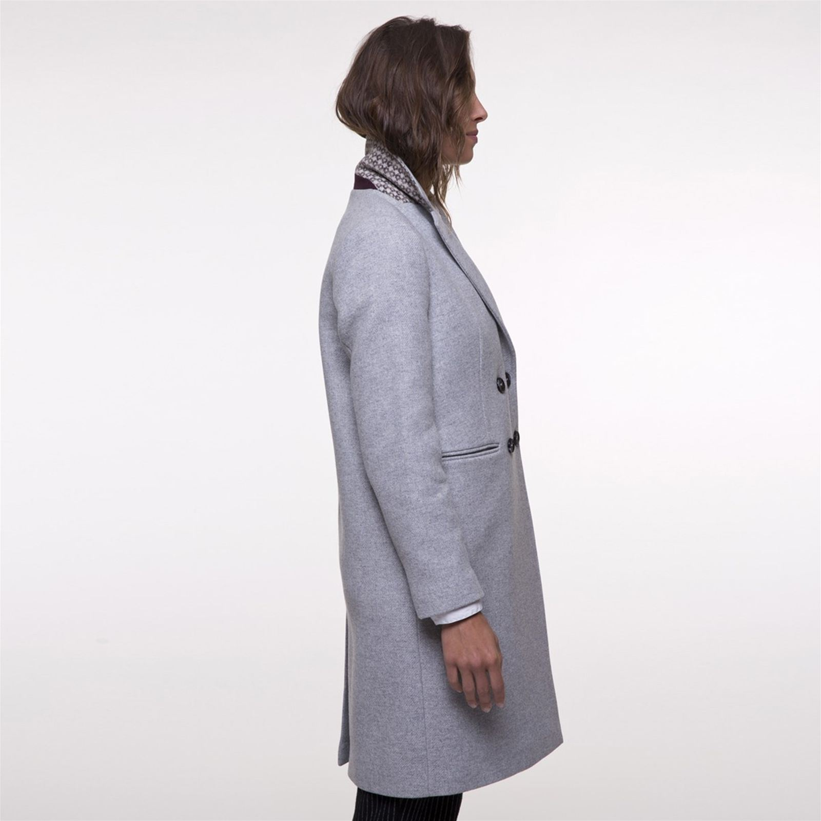 Clair Brandalley Manteau En Coat Mélangée Laine Trench And Gris Uw7q4ng 1ed60948c56