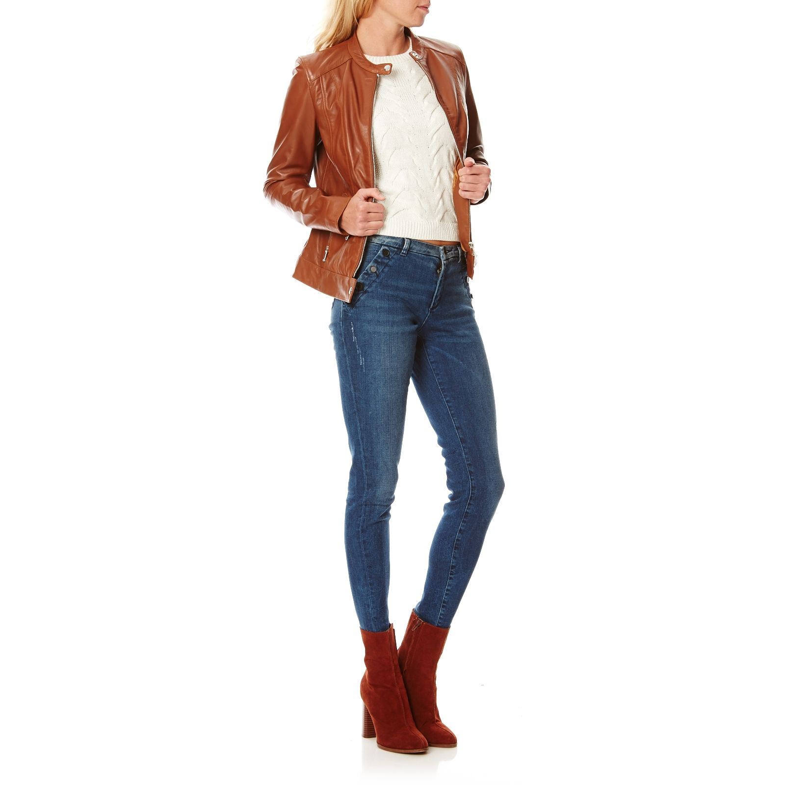 sneakers for cheap d8d87 70709 Chyston Cuir Celeste - Giacca biker in pelle - cognac ...