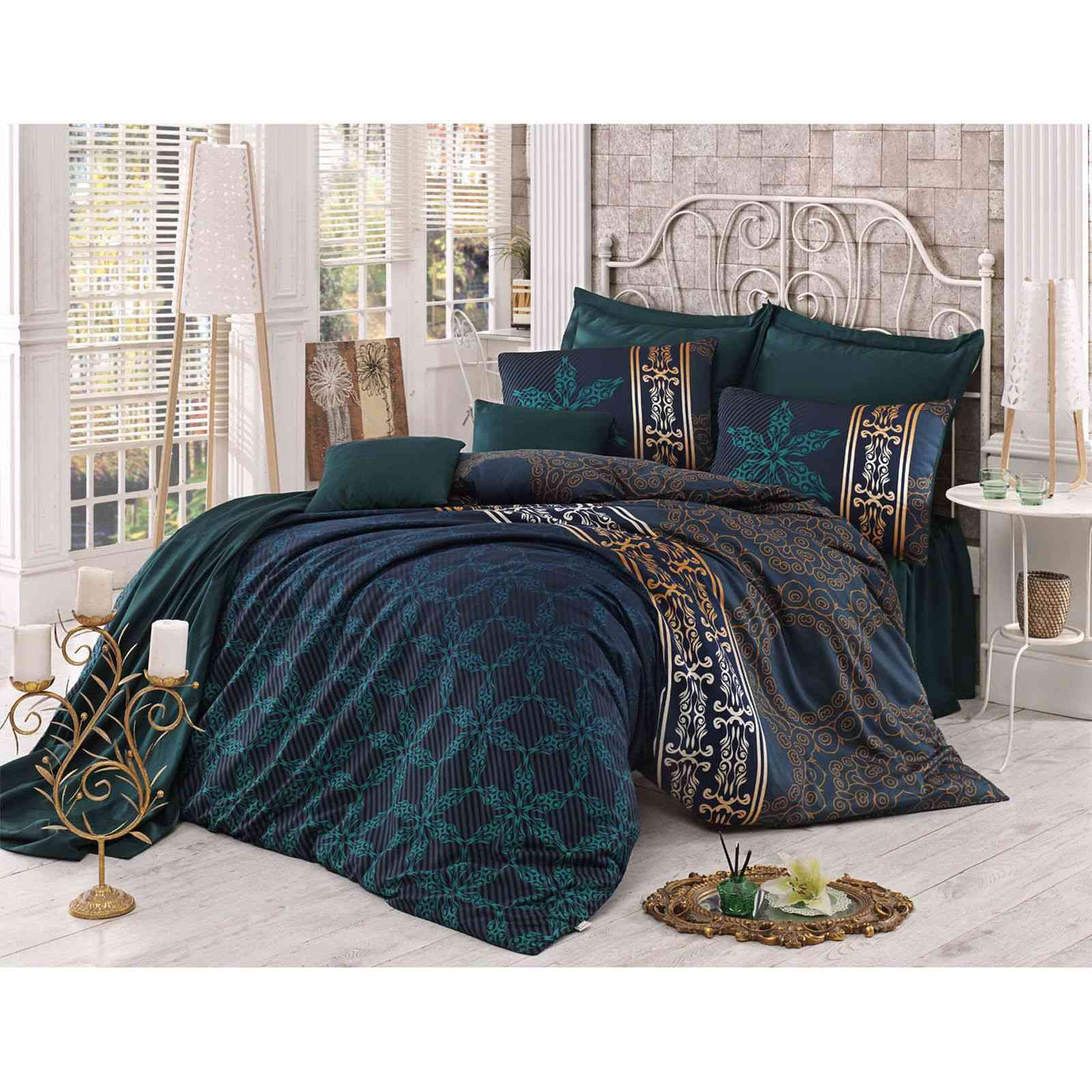 victoria home parure de lit en satin de coton 220x240 vert brandalley. Black Bedroom Furniture Sets. Home Design Ideas
