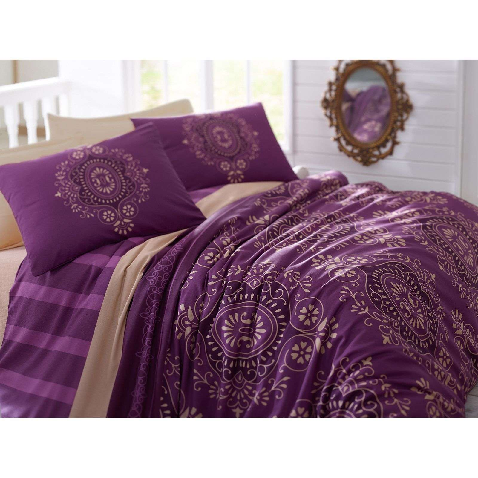 cotton box parure de lit violet brandalley. Black Bedroom Furniture Sets. Home Design Ideas