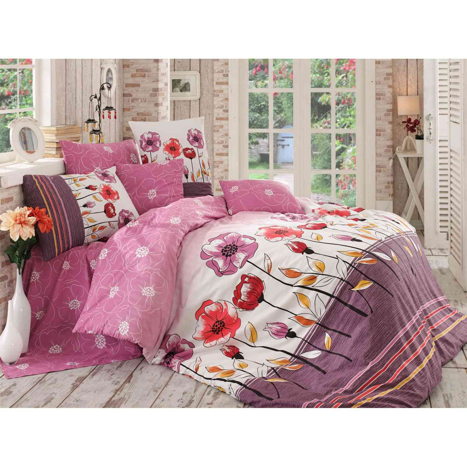 cotton box parure de lit rose brandalley. Black Bedroom Furniture Sets. Home Design Ideas