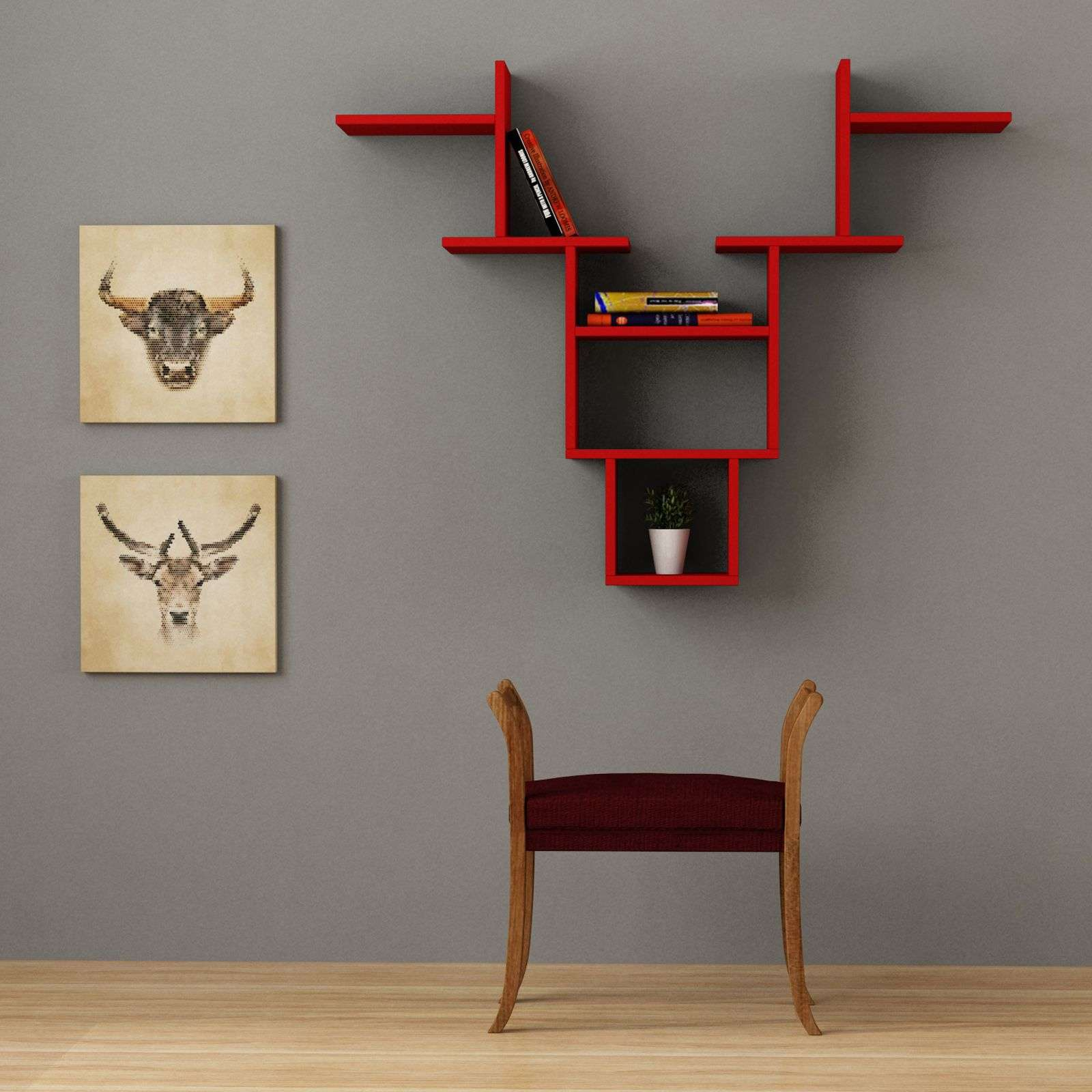 Home factory tag re murale rouge brandalley - Etagere murale rouge ...