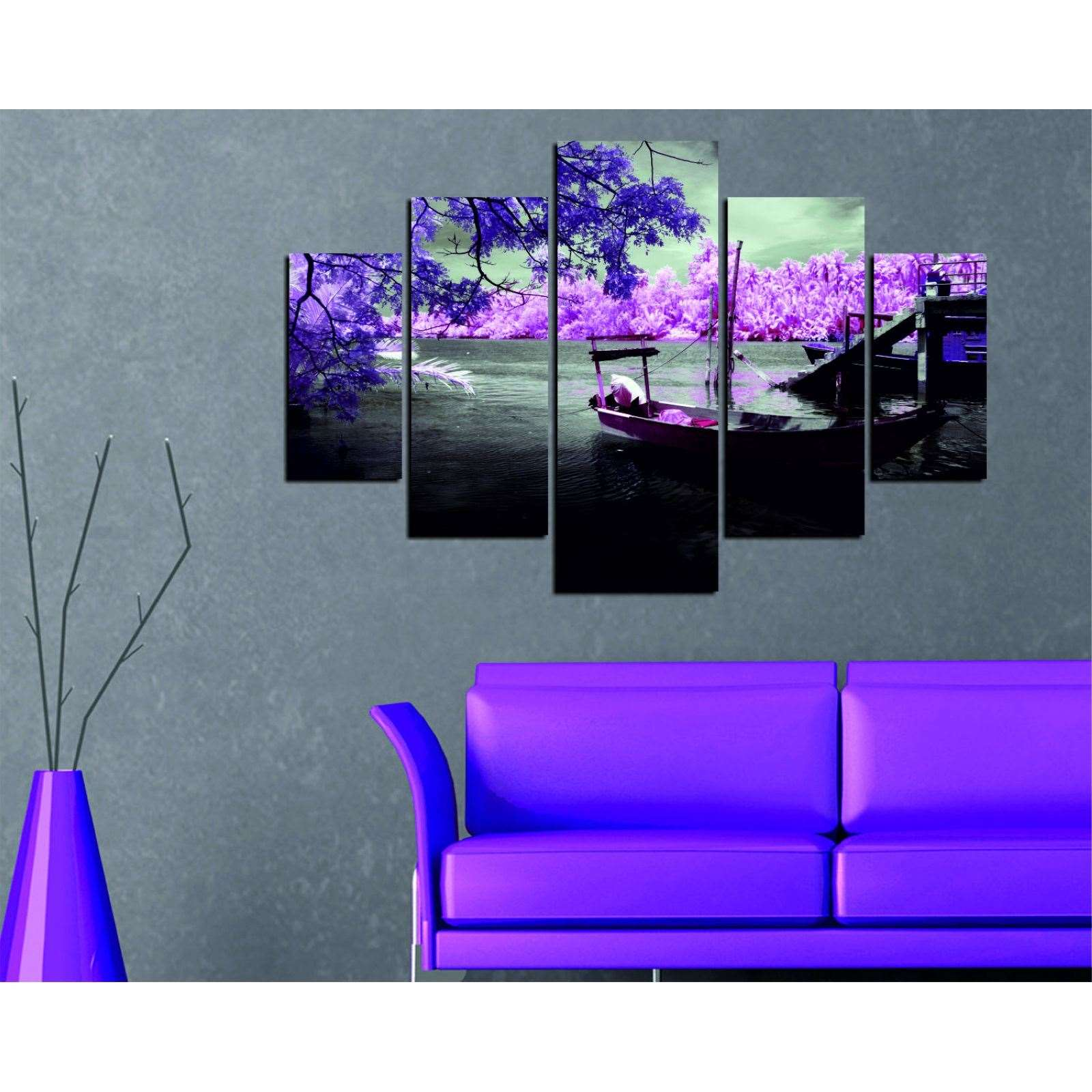 deco wall paysage 5 teiliges bild violett brandalley. Black Bedroom Furniture Sets. Home Design Ideas