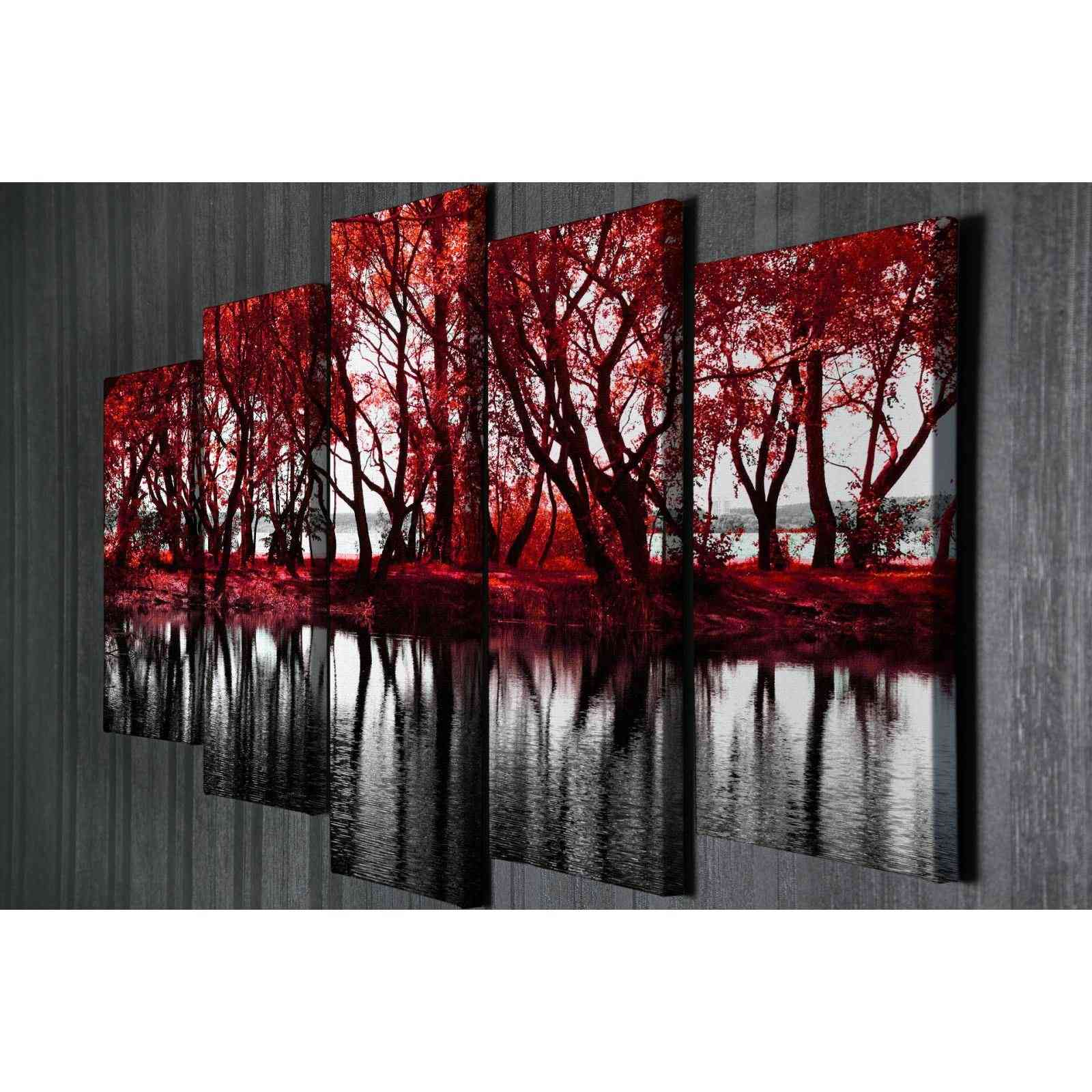 deco wall arbre 5 teiliges bild rot brandalley. Black Bedroom Furniture Sets. Home Design Ideas