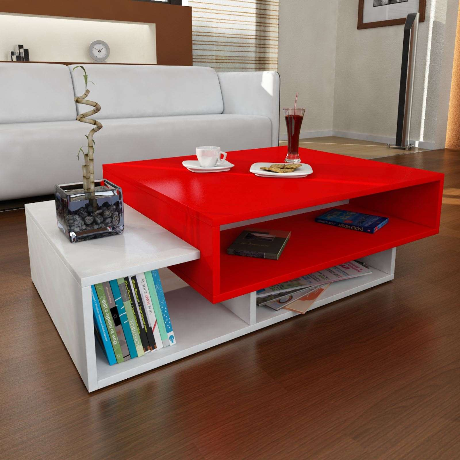 wooden art table basse rouge brandalley. Black Bedroom Furniture Sets. Home Design Ideas
