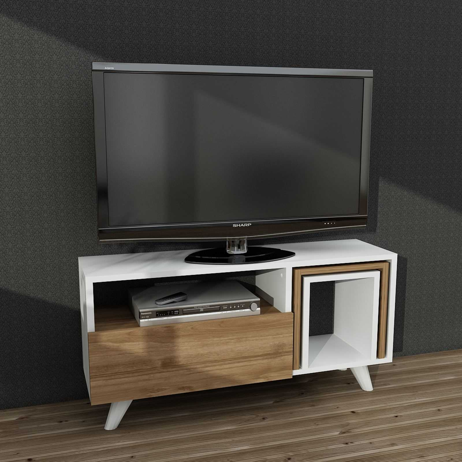 wooden art meuble tv blanc brandalley. Black Bedroom Furniture Sets. Home Design Ideas