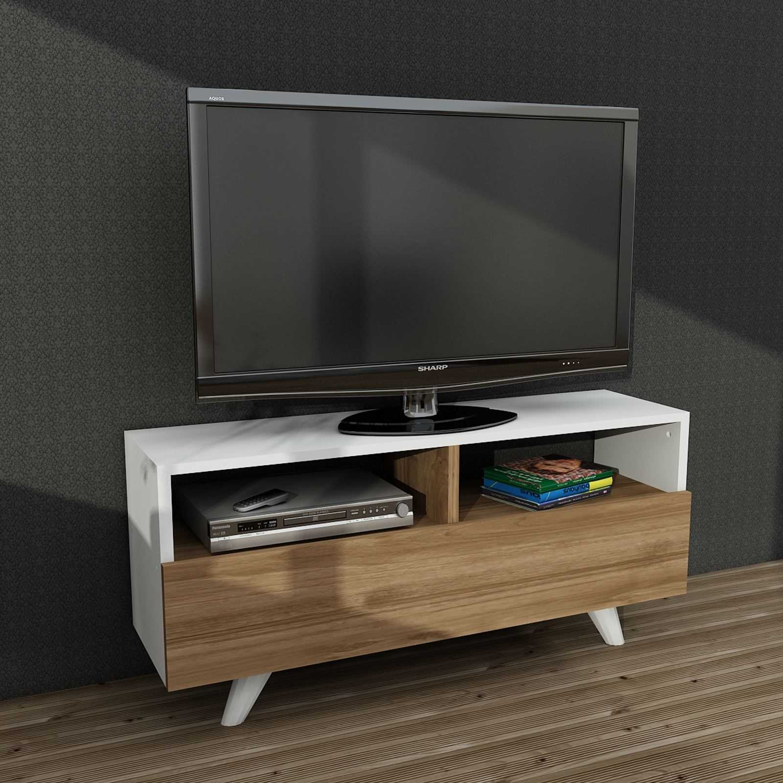 wooden art meuble tv hifi blanc brandalley. Black Bedroom Furniture Sets. Home Design Ideas