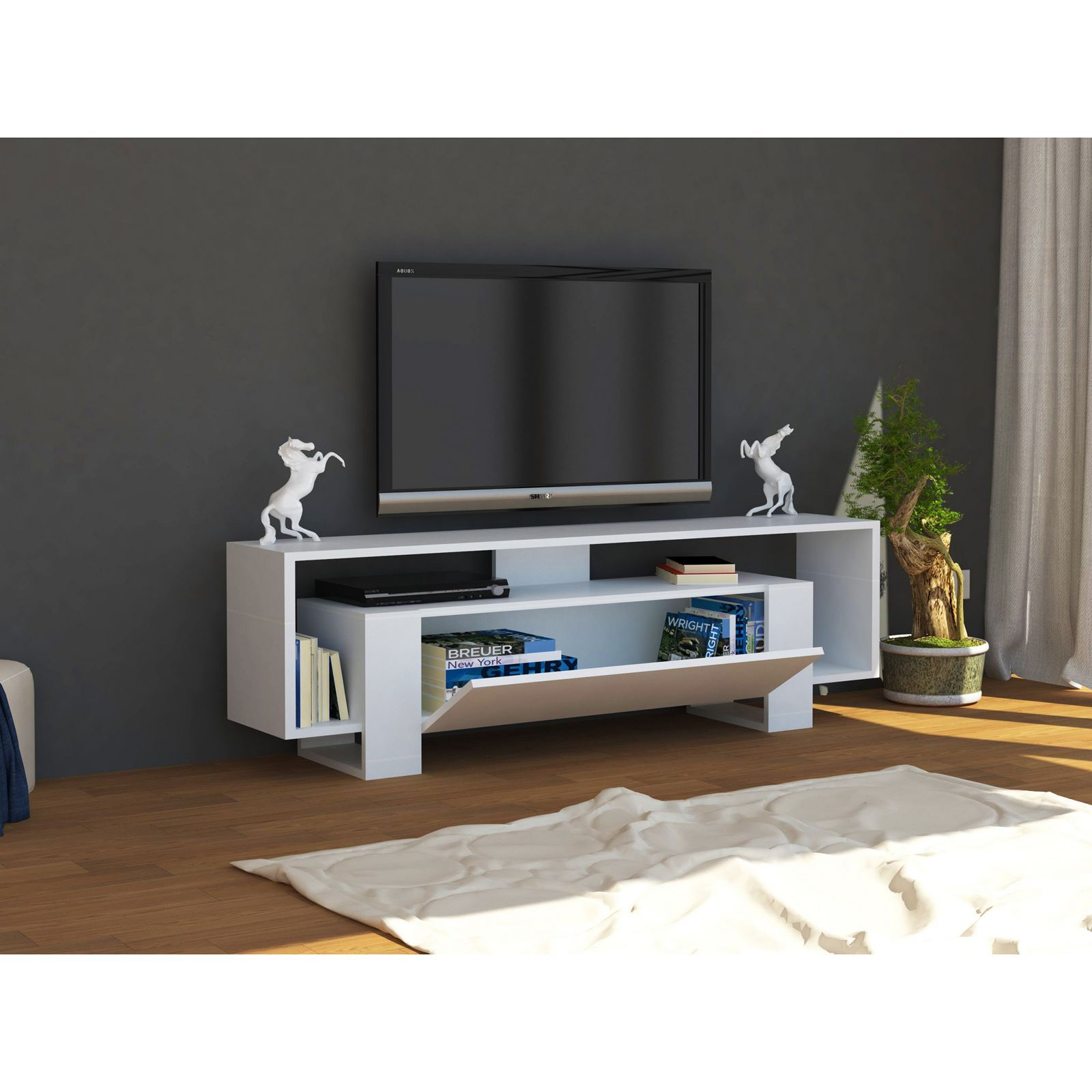 woody fashion meuble tv blanc brandalley. Black Bedroom Furniture Sets. Home Design Ideas