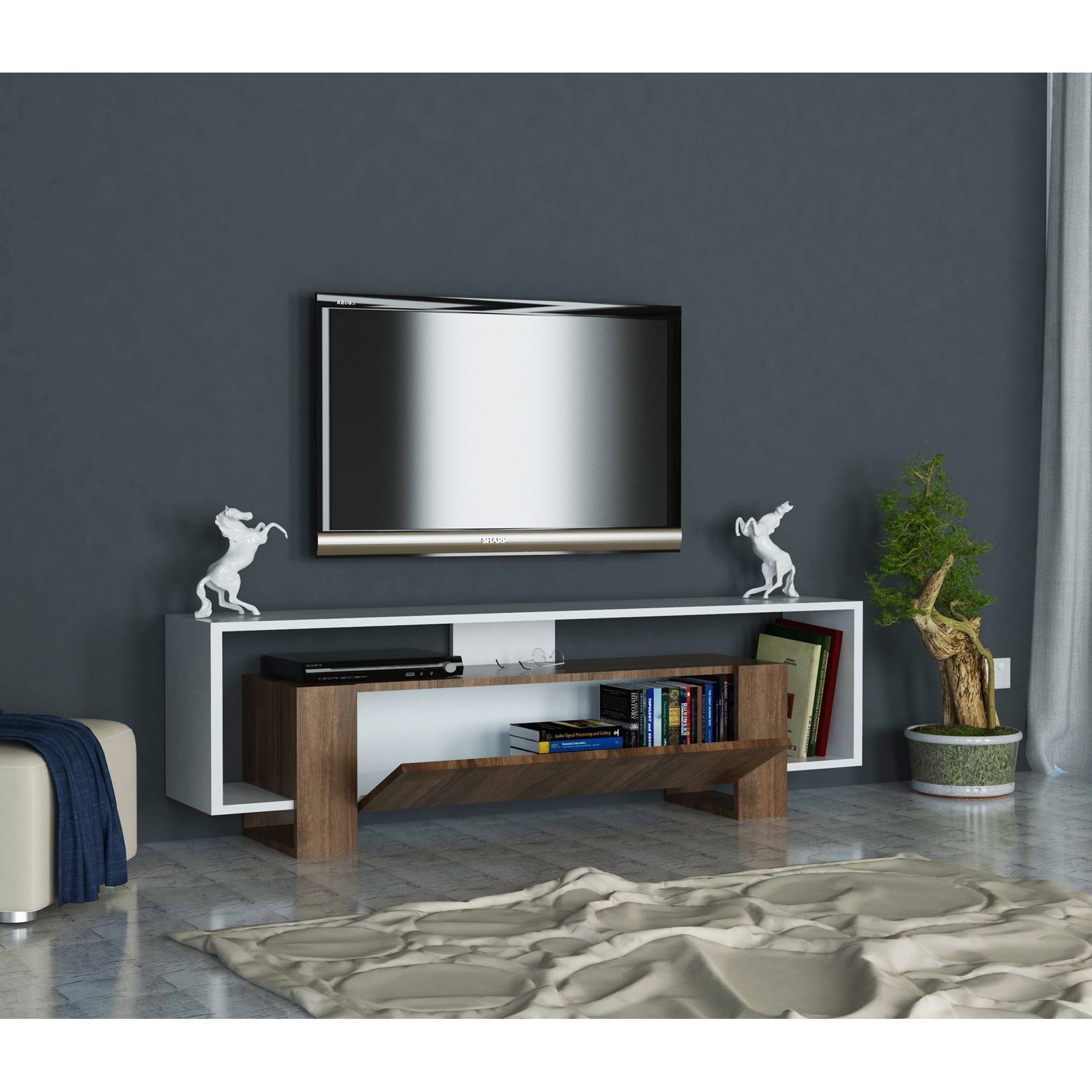 woody fashion meuble tv bicolore brandalley. Black Bedroom Furniture Sets. Home Design Ideas