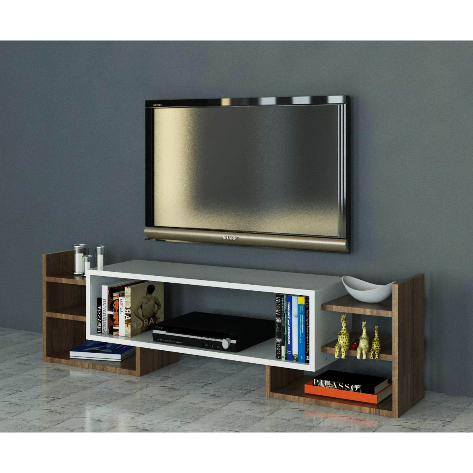 wooden art meuble tv bicolore brandalley. Black Bedroom Furniture Sets. Home Design Ideas
