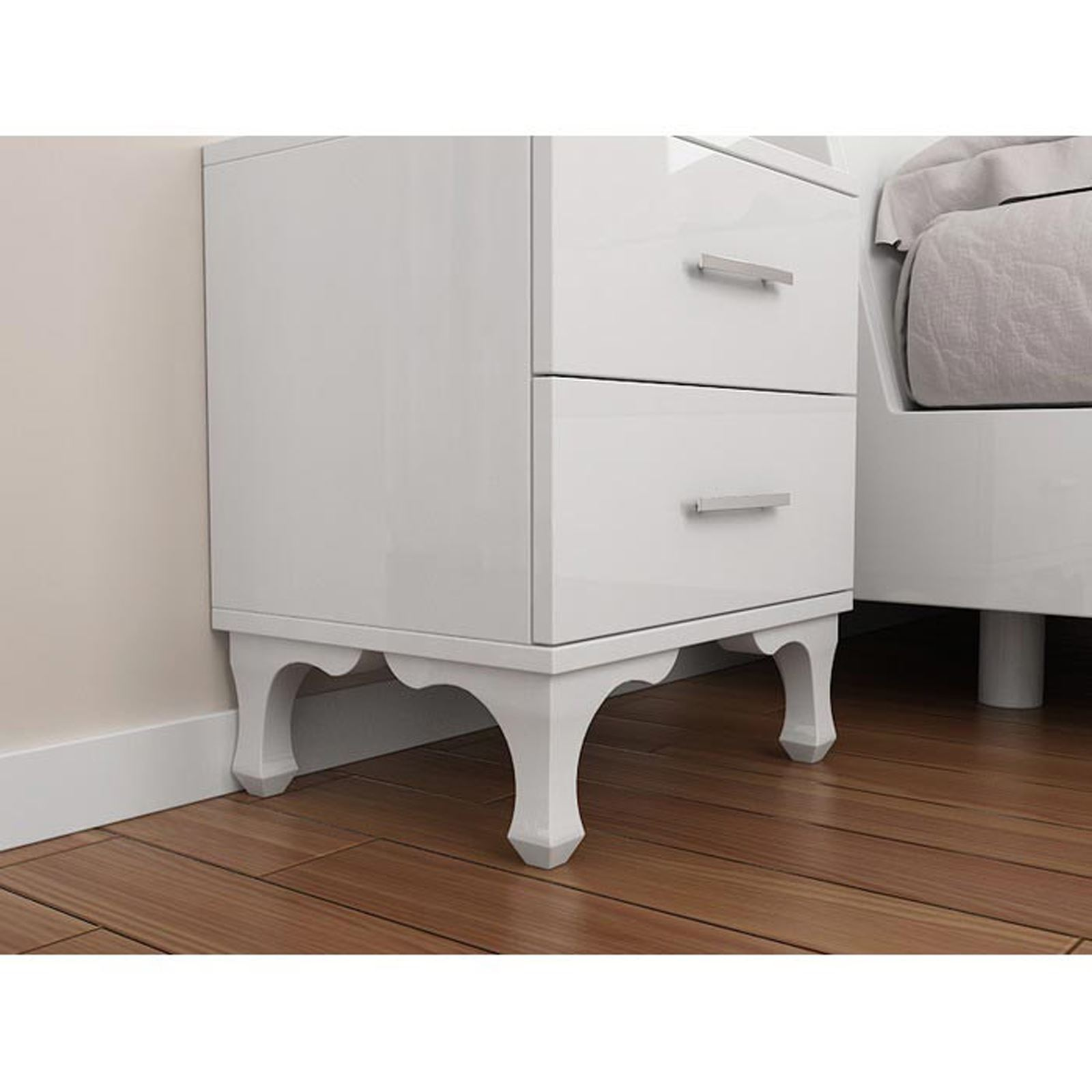 wooddie table de nuit blanc brandalley. Black Bedroom Furniture Sets. Home Design Ideas