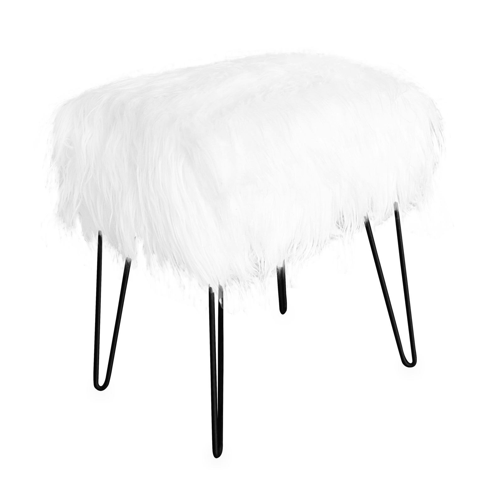 jean louis scherrer fur tabouret fausse fourrure blanc brandalley. Black Bedroom Furniture Sets. Home Design Ideas