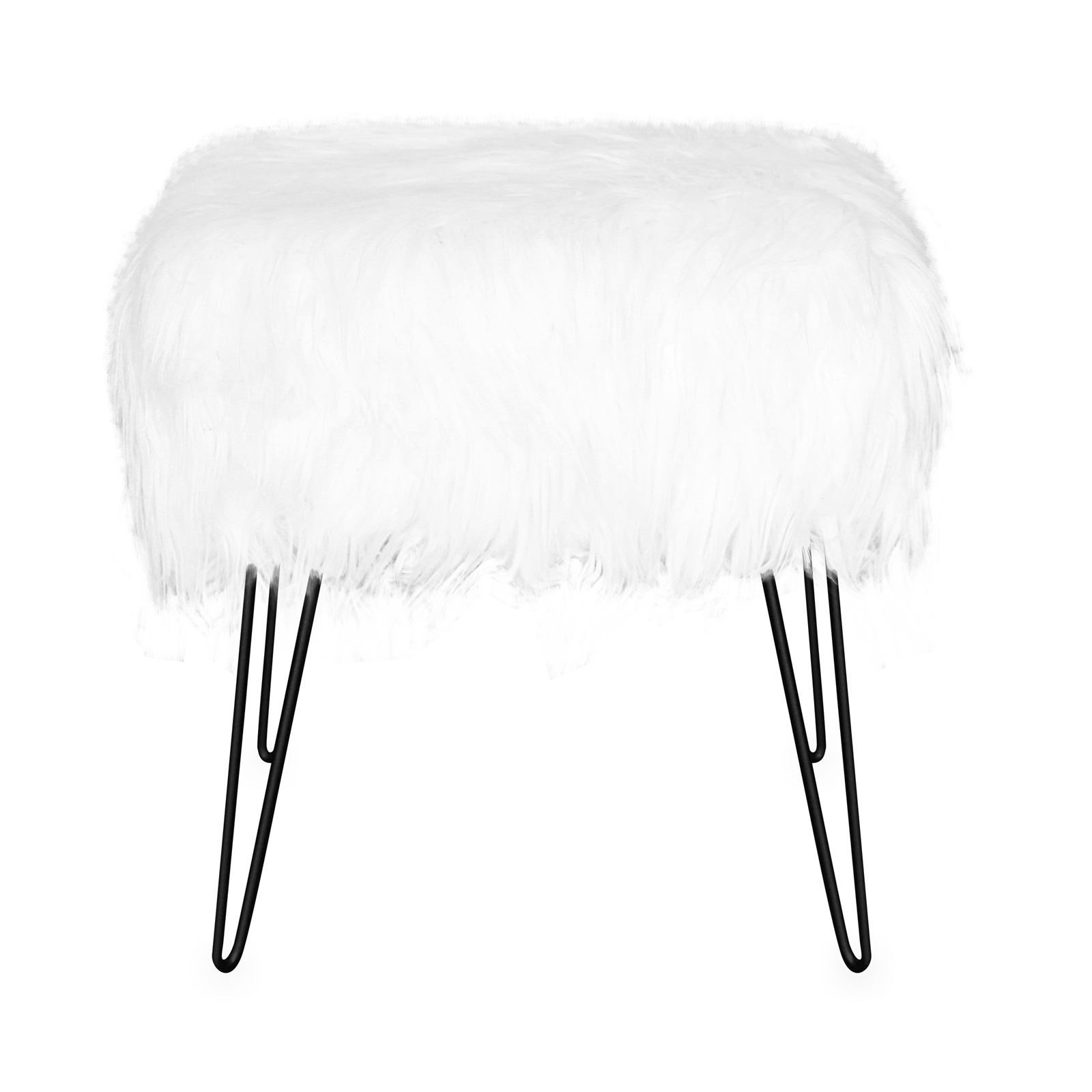 jean louis scherrer fur tabouret fausse fourrure blanc. Black Bedroom Furniture Sets. Home Design Ideas
