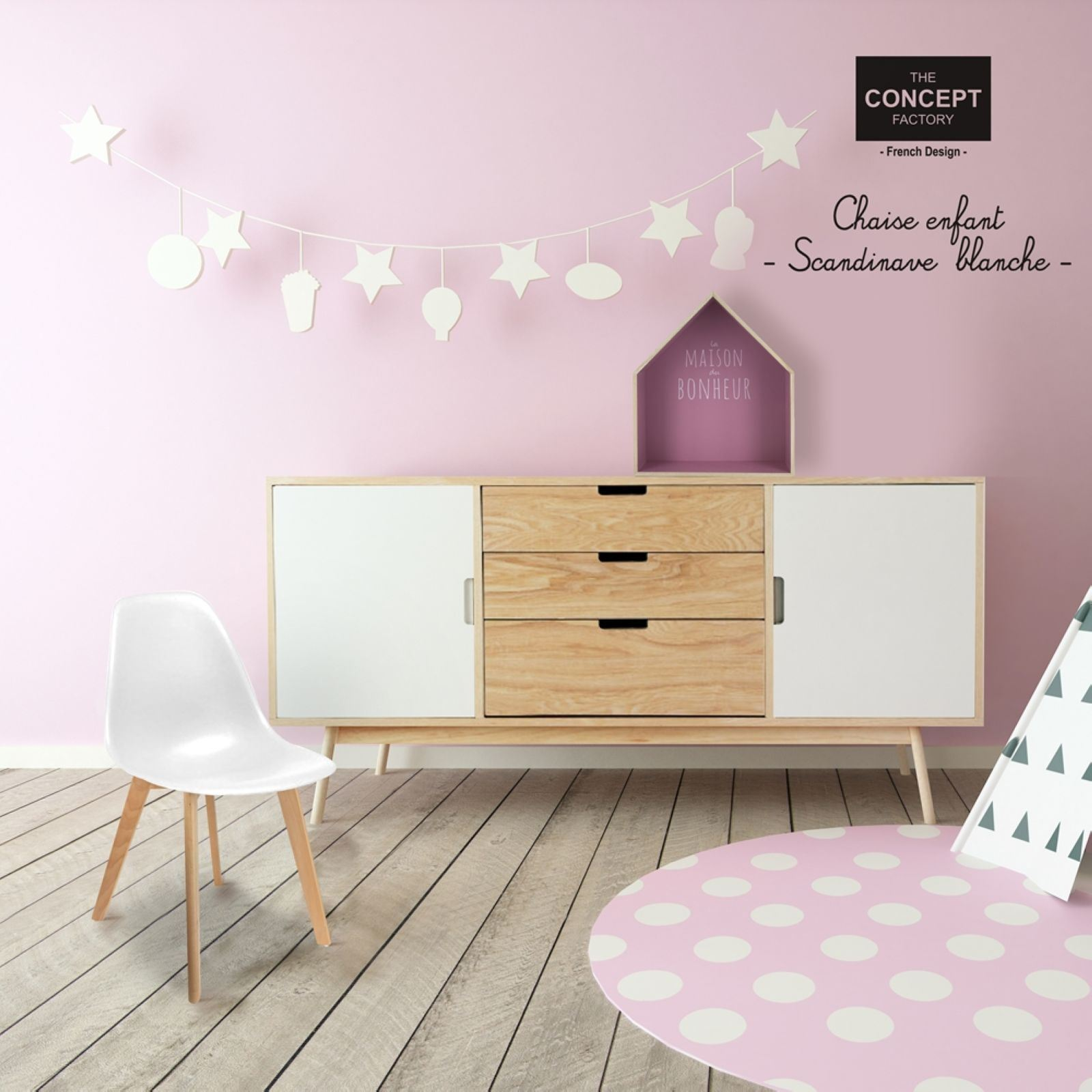 the home deco factory lot de 2 chaises scandinave enfant blanc brandalley. Black Bedroom Furniture Sets. Home Design Ideas
