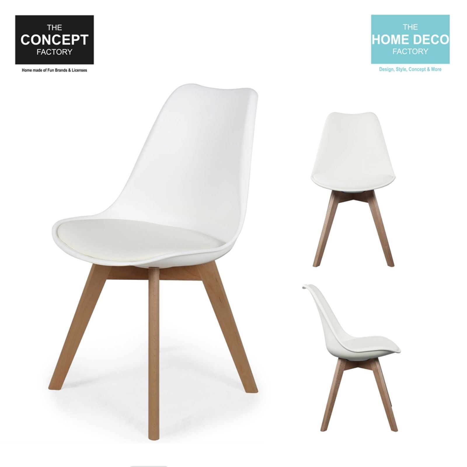 the home deco factory lot de 2 chaises scandinave avec coussin blanc brandalley. Black Bedroom Furniture Sets. Home Design Ideas