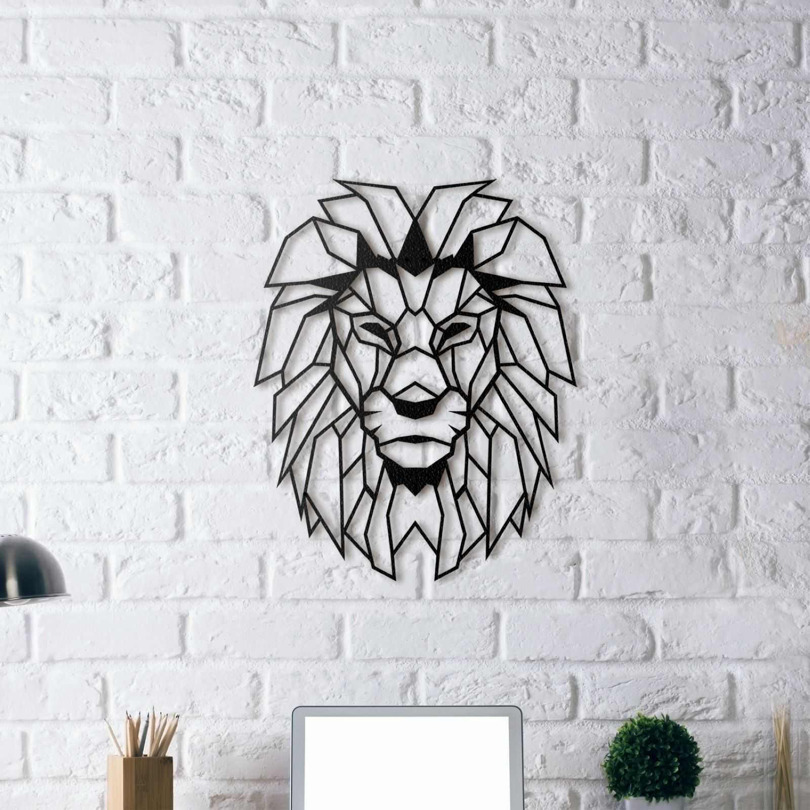 m tal d cor t te de lion tableau mural 40x51cm noir. Black Bedroom Furniture Sets. Home Design Ideas